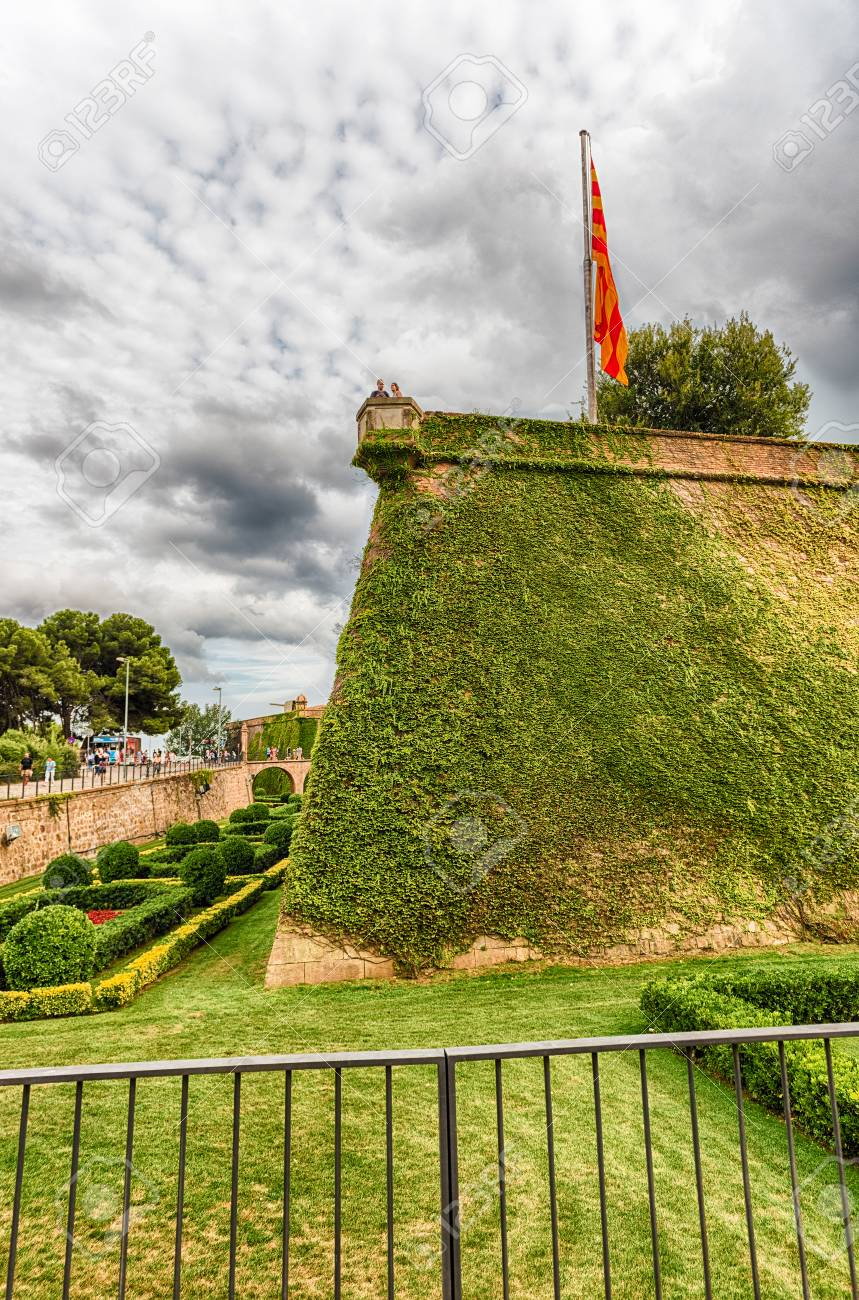 Beautiful Bastion Of The Castle Of Montjuic, An Old Military Fortress In Barcelona,  Catalonia, Awesome Design