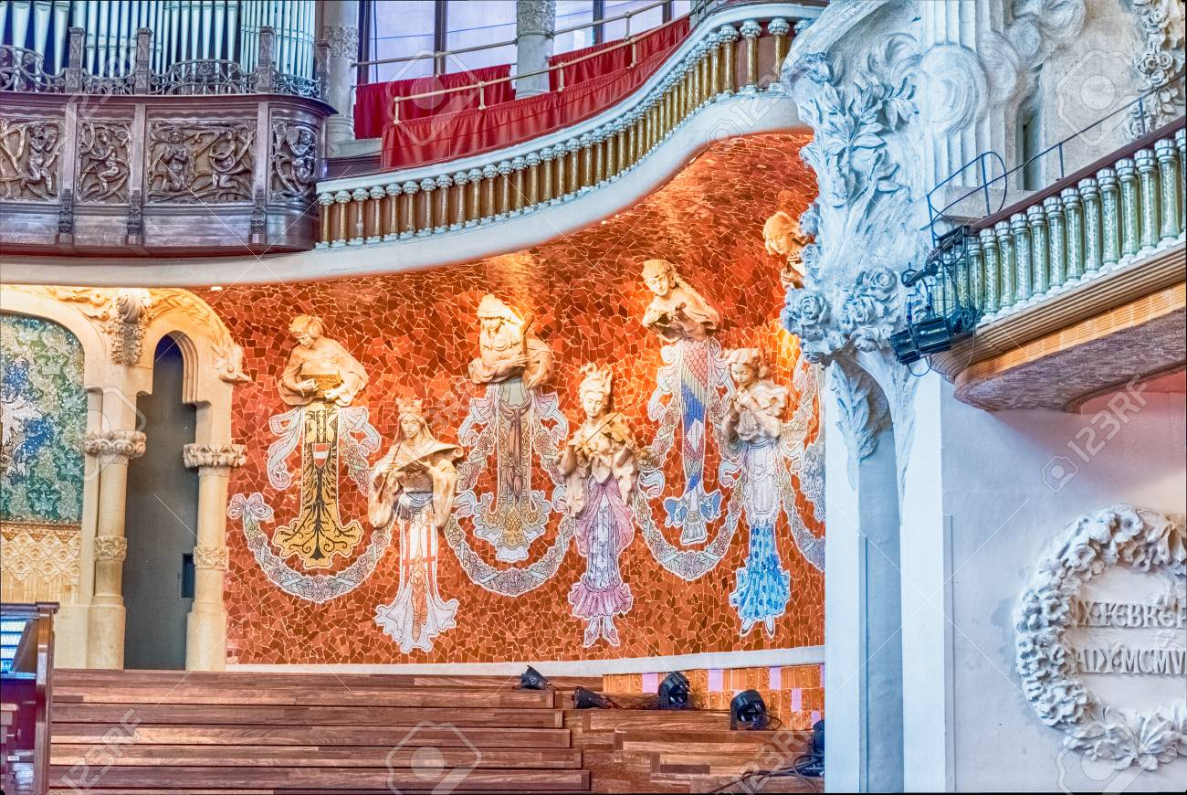 BARCELONA   AUGUST 8: Interior Decorations Of Palau De La Musica Catalana,  Modernist Concert