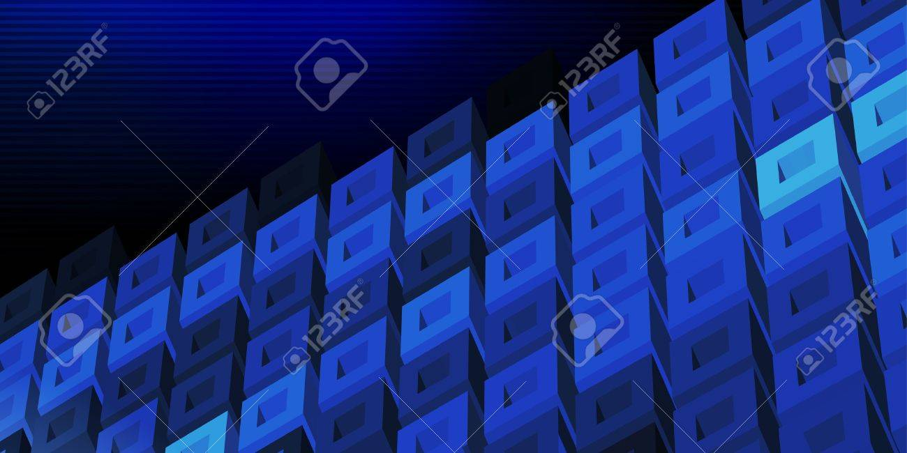 Dark blue 3D technologic banner with cell structure Stock Vector - 15974333