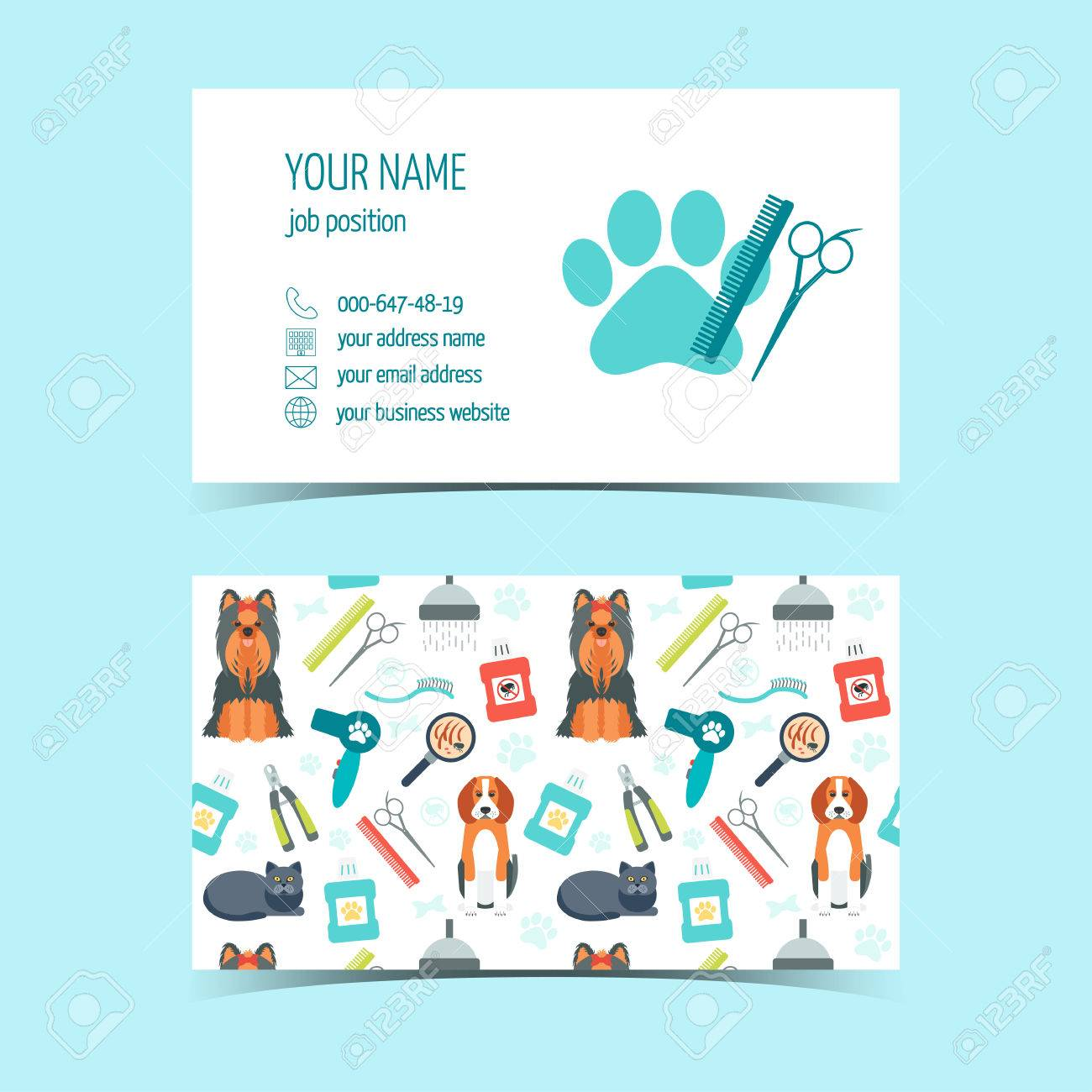 Set Of Business Cards For Animal Grooming. Promotional Products ...