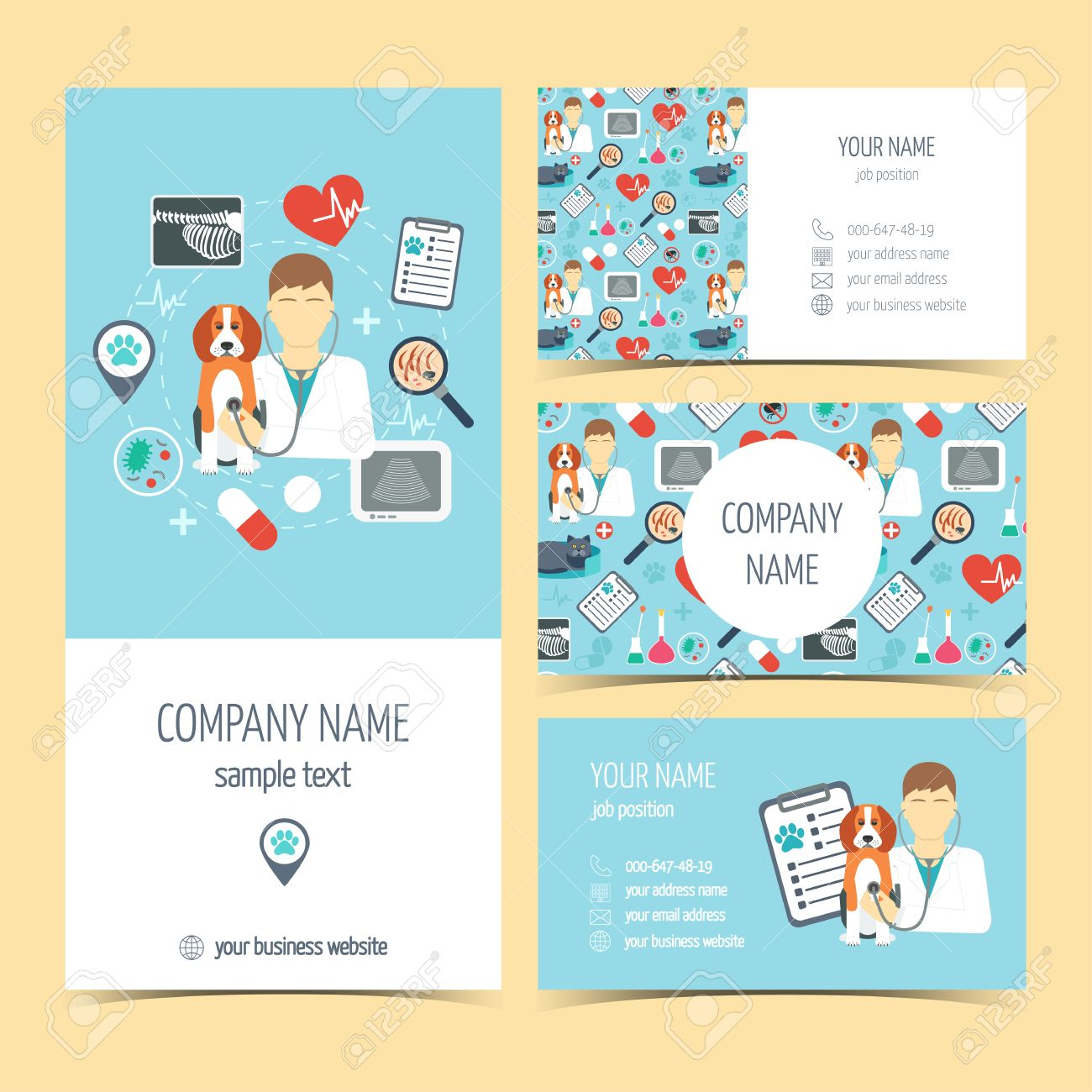 Set Of Flyer, Brochure And Business Cards For Vet Clinic. Pet ...