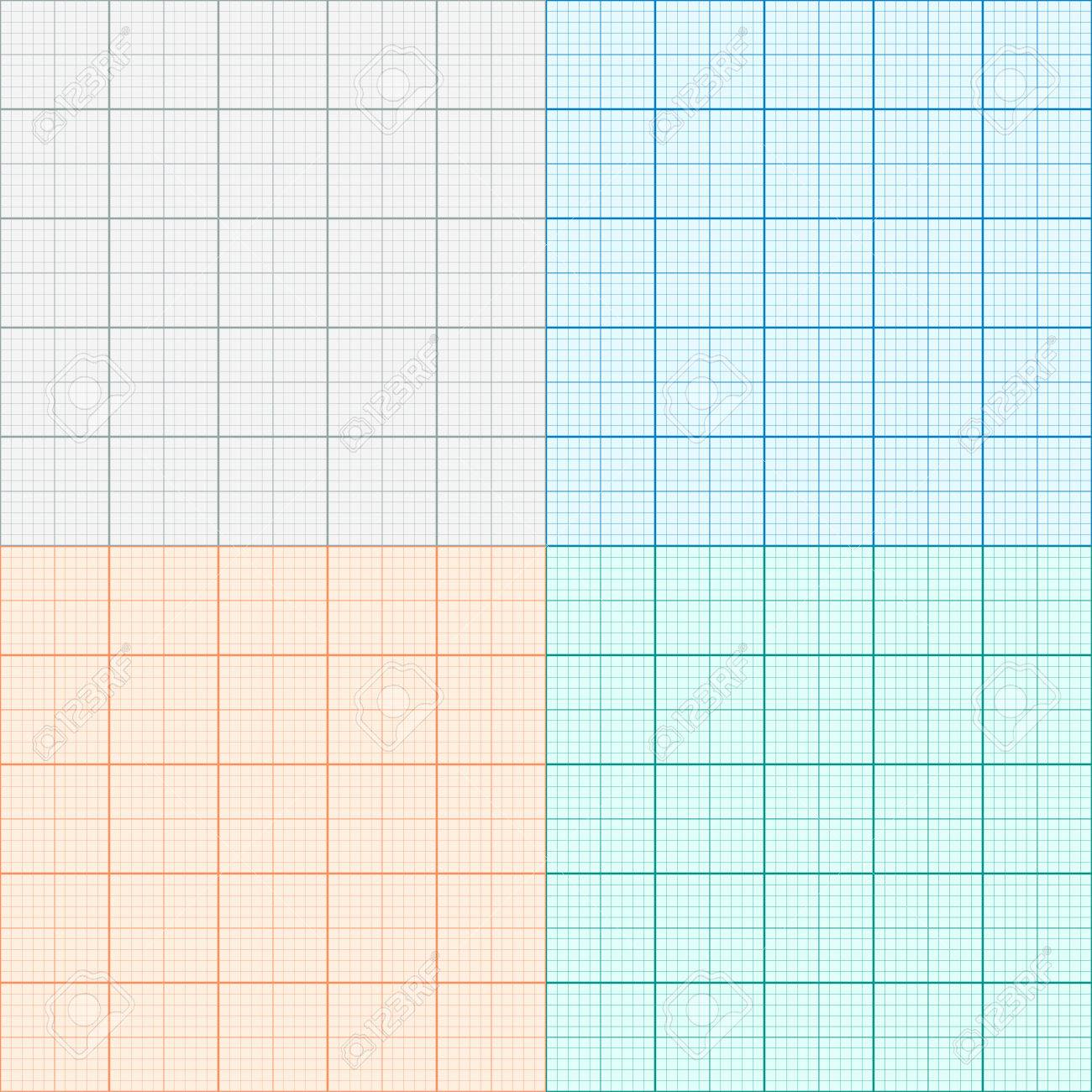 A Set Of Graph Paper In Four Colors. Plotting Paper. Vector ...