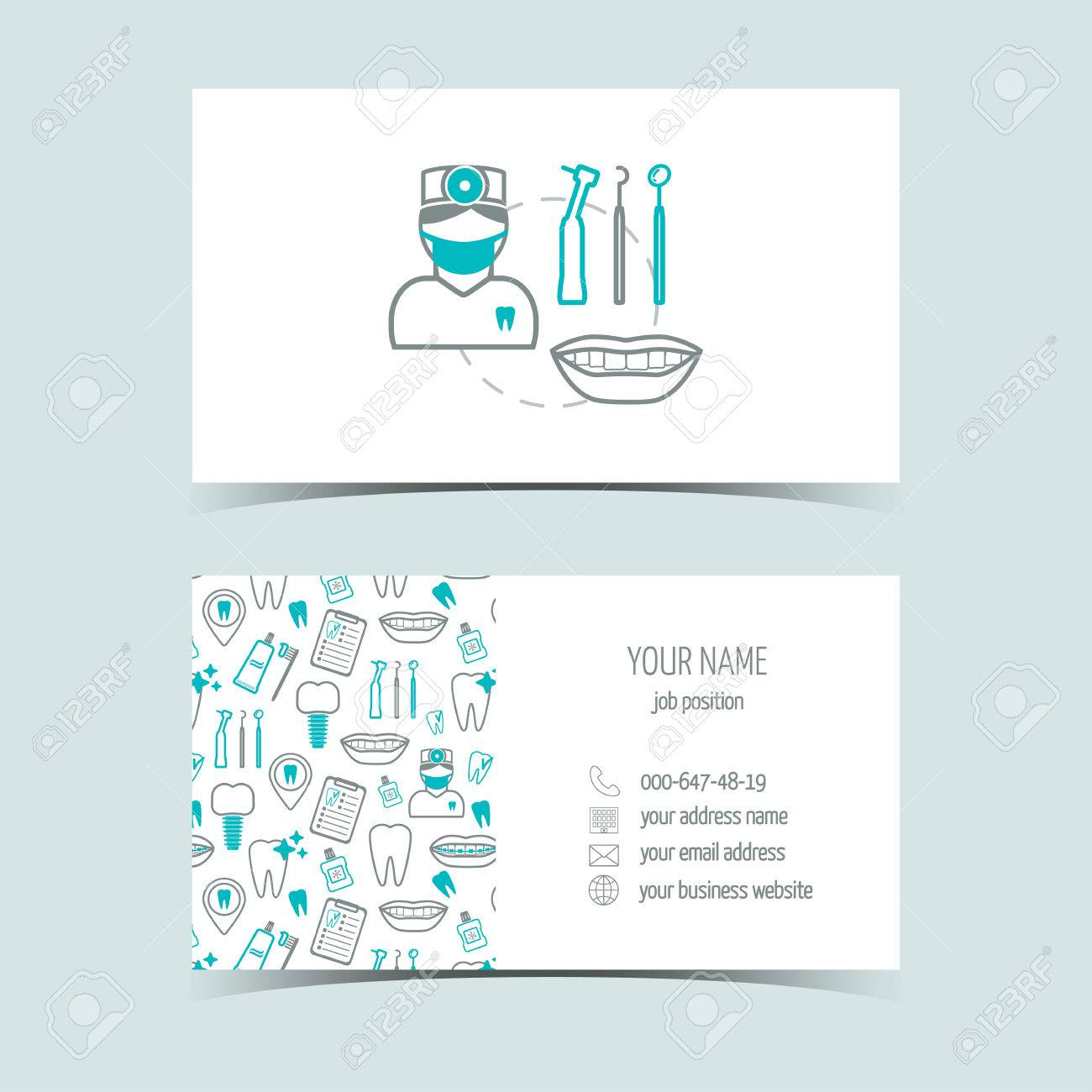 Business Cards For Dental Clinic. Promotional Products. Line ...