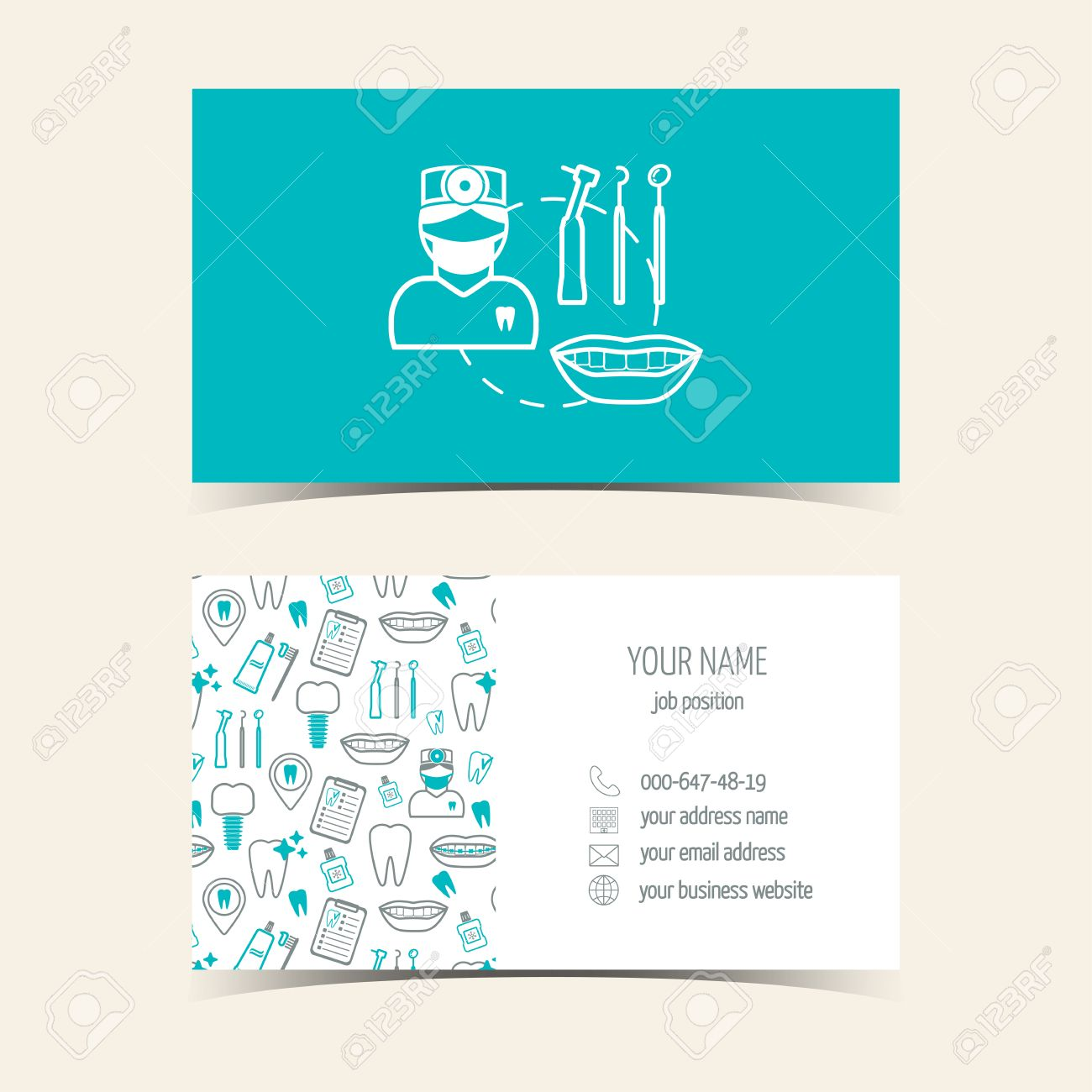 Business Cards For Dental Clinic. Promotional Products. Flat ...