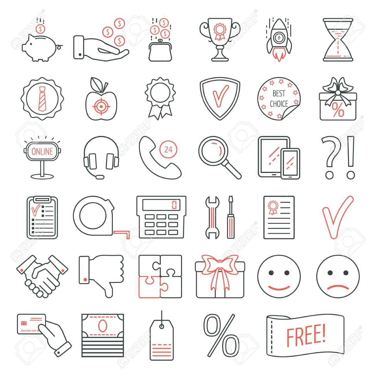 34bcb0c3ba182 Conjunto de iconos de diseño web lineal. Iconos de línea moderna para  negocios