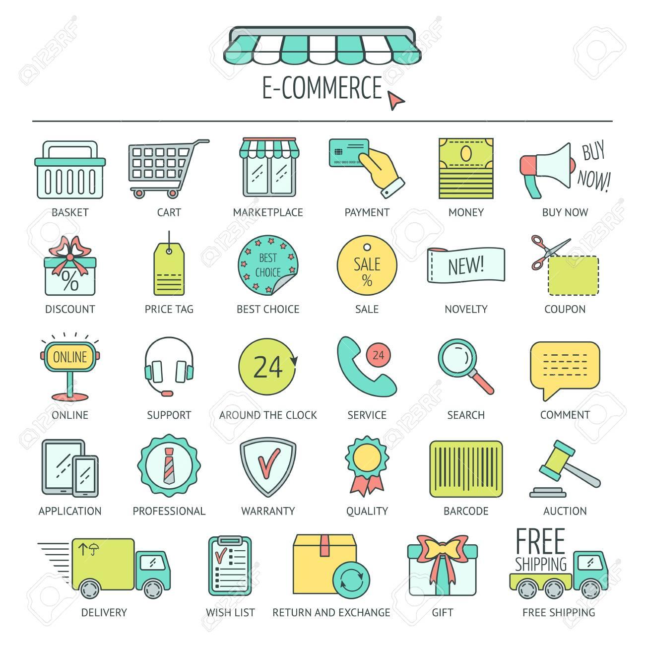 El Comercio Electrónico Conjunto De Iconos Colorear Iconos De Líneas Modernas Para Los Negocios Desarrollo Web Y Página De Destino Diseño Plano