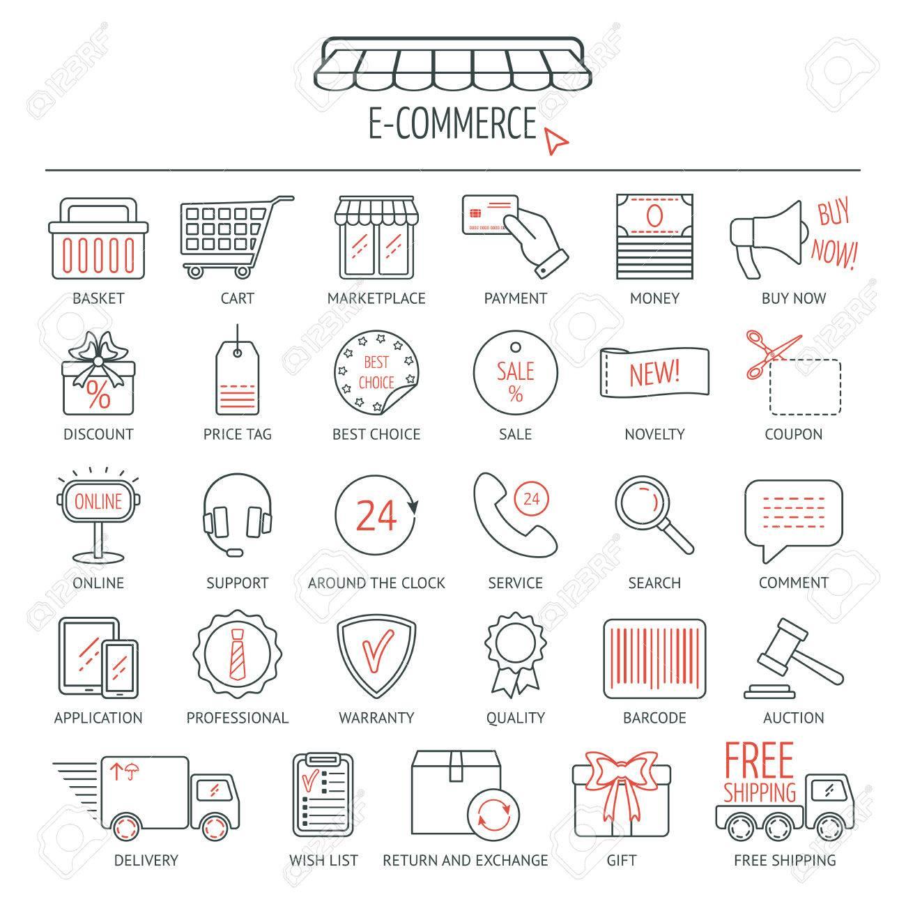 E commerce icon set modern line icons for business web development e commerce icon set modern line icons for business web development and landing altavistaventures Images