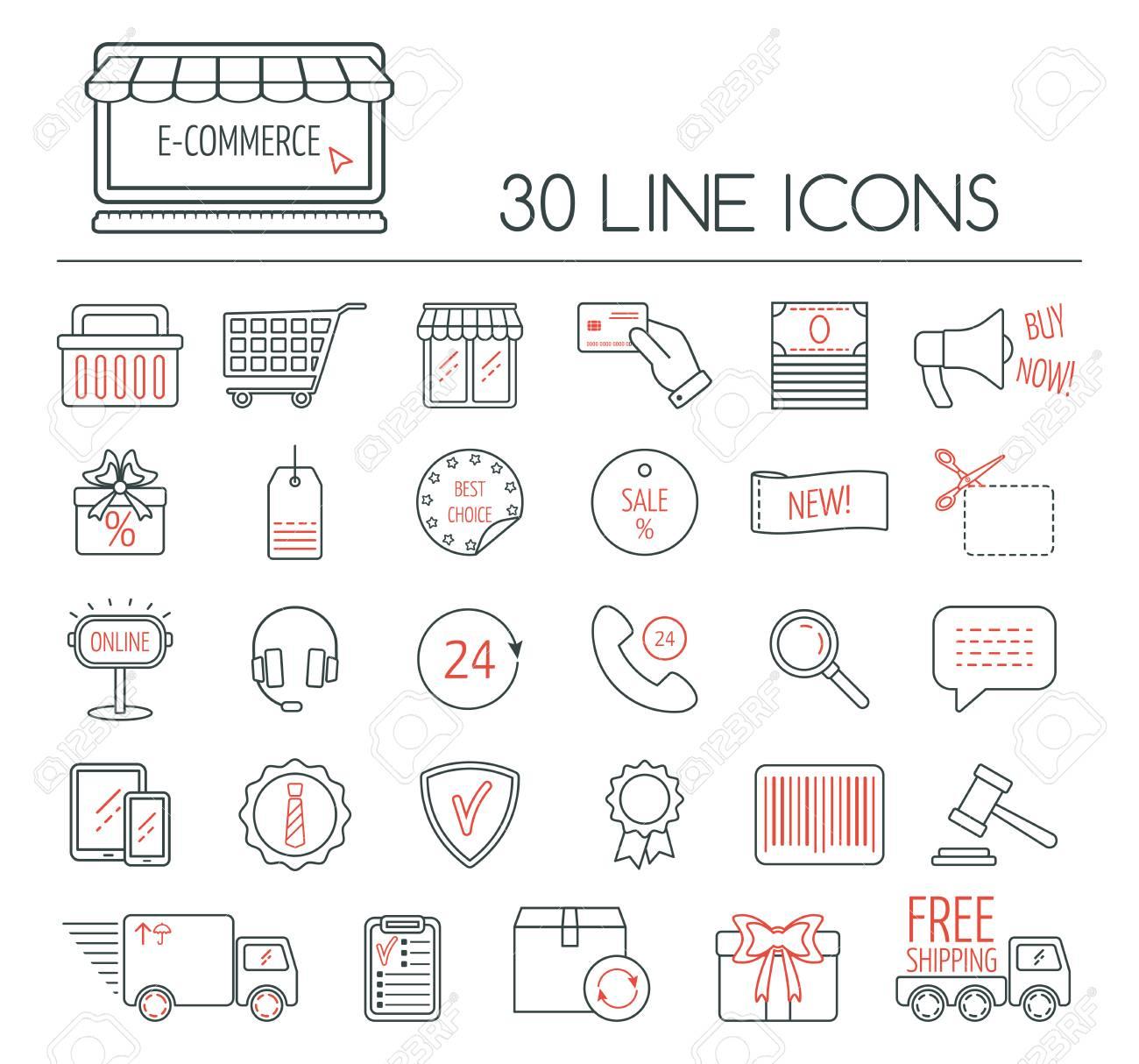 b031ec4e45292 Conjunto de iconos lineales de comercio electrónico. iconos de líneas  modernas para los negocios