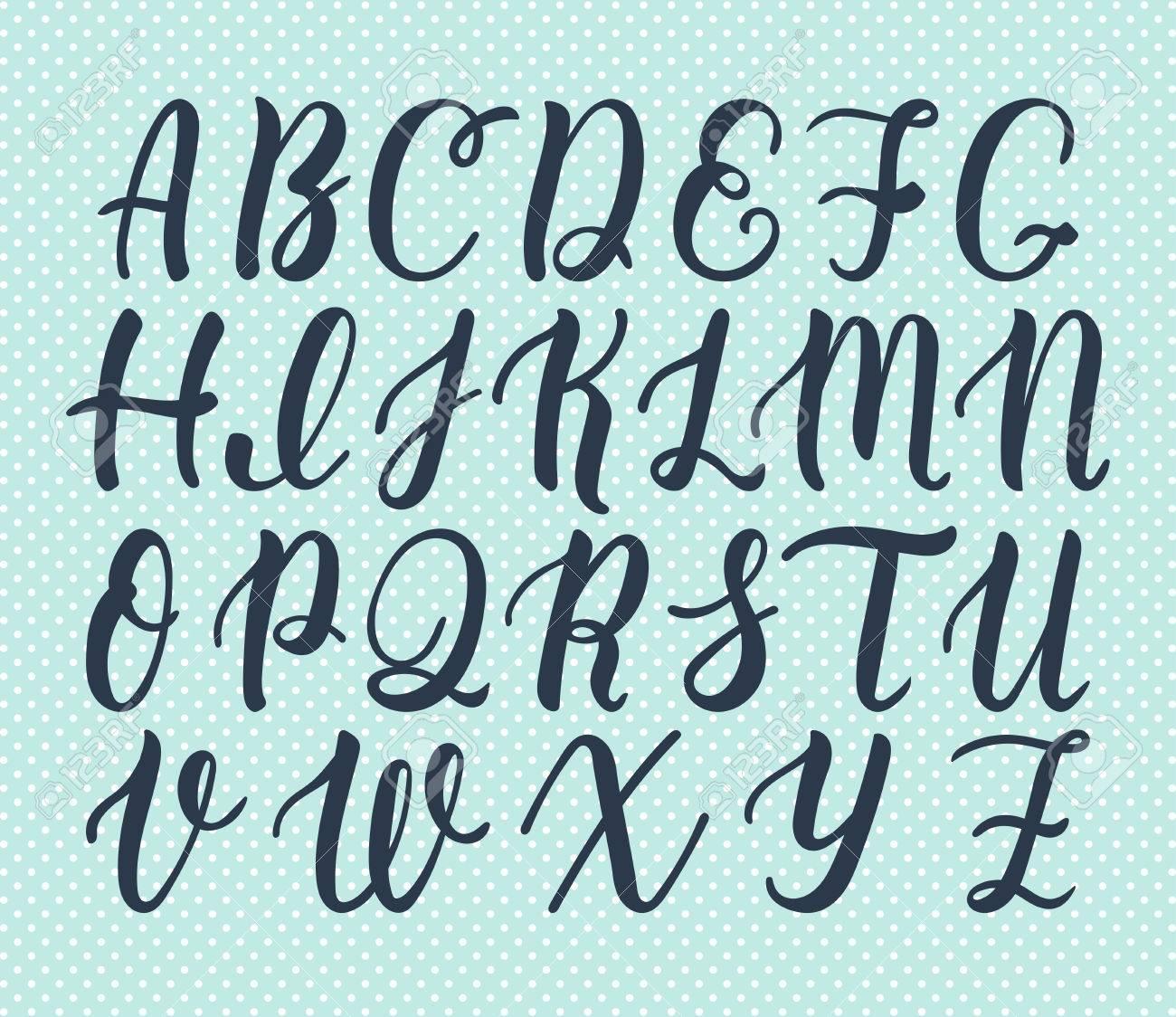 Fabuleux Hand Drawn Latin Script Pinceau De Calligraphie De Lettres  CN46