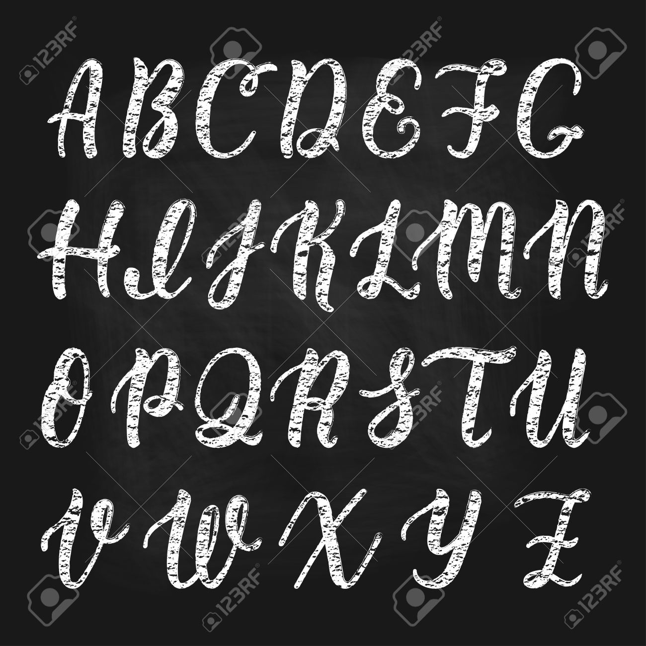 Chalk Hand Drawn Latin Calligraphy Brush Script Of Capital Letters Calligraphic Alphabet Stock Vector