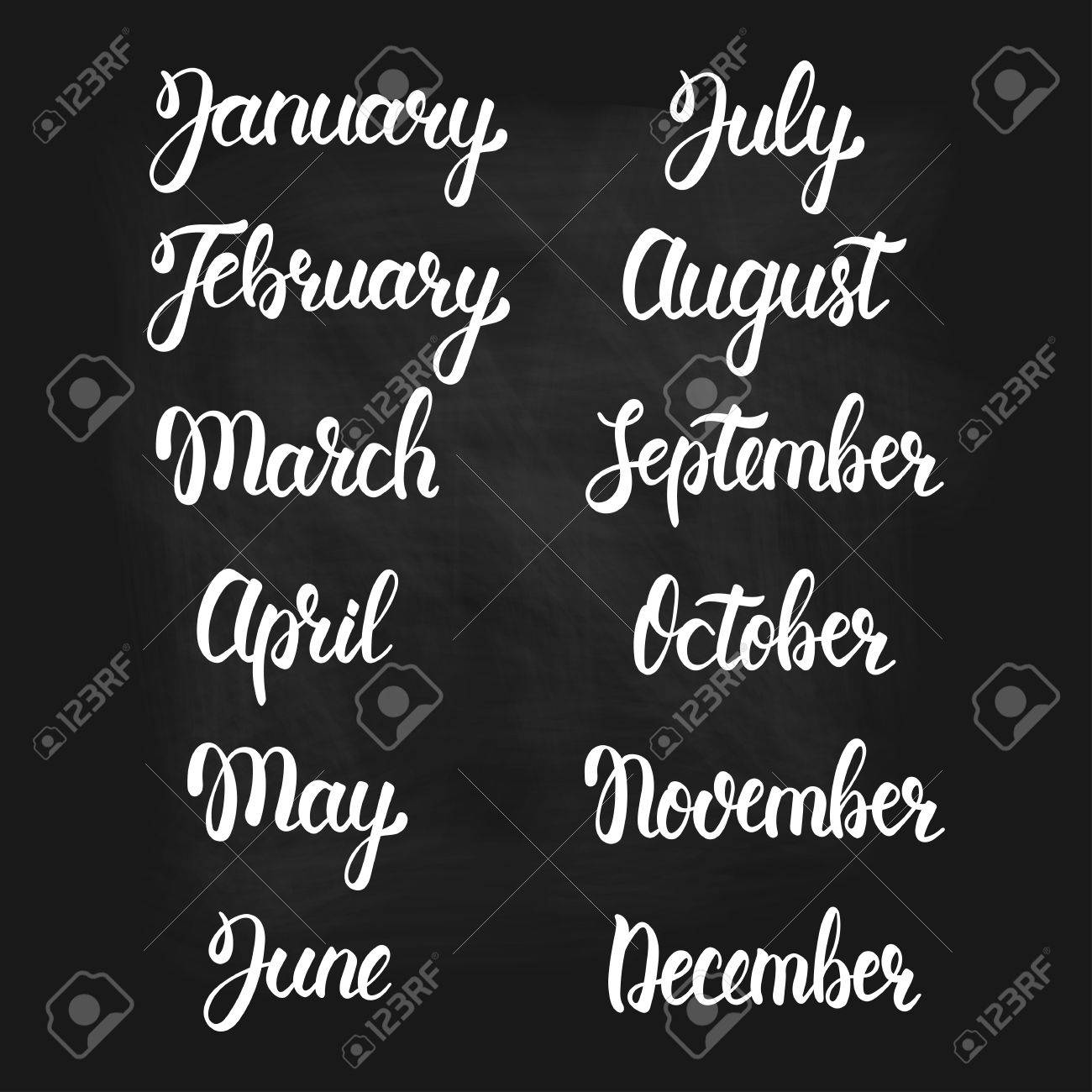 Brush Handwritten Months Of The Year Hand Lettering Names Of