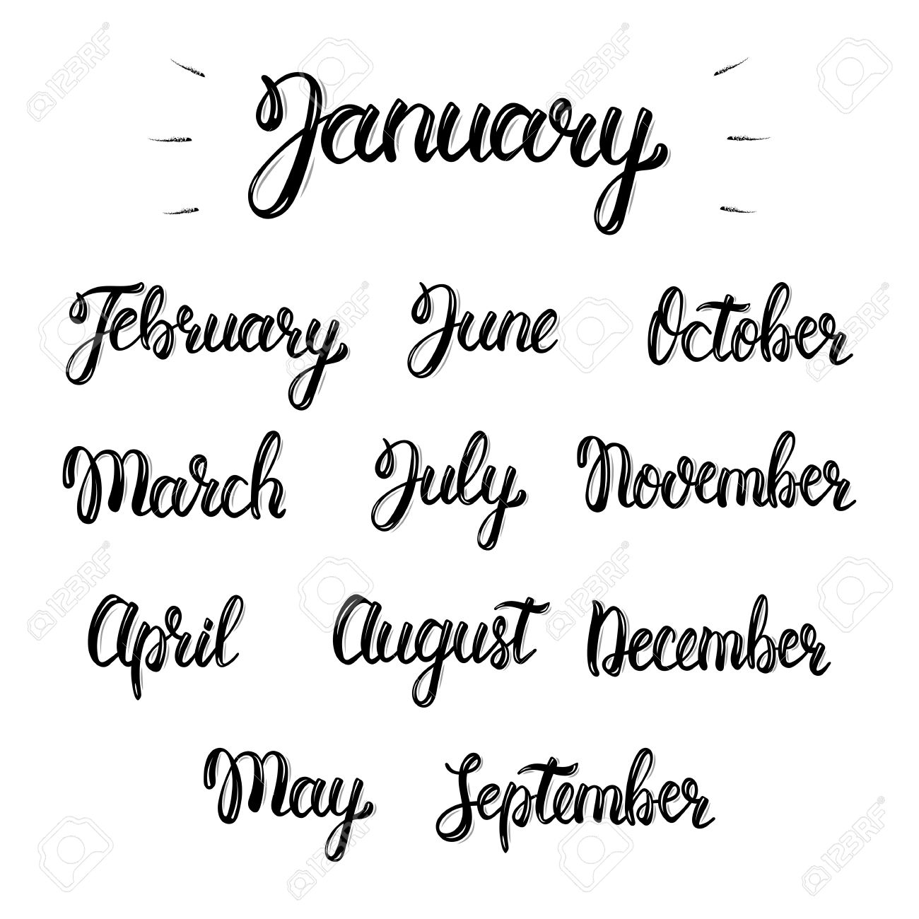 trendy hand lettering set of months of the year brush handwritten