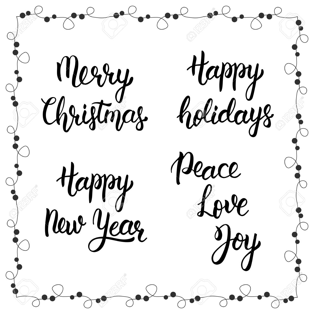 Peace Love Joy Quotes Christmas Calligraphy Phrasesmerry Christmashappy New Year