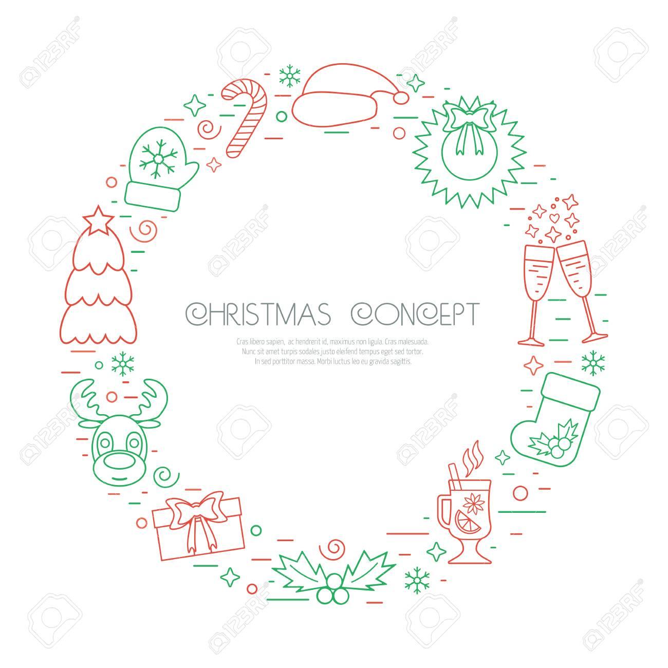 Marco De Las Vacaciones De Navidad Círculo De Color Con Los ...