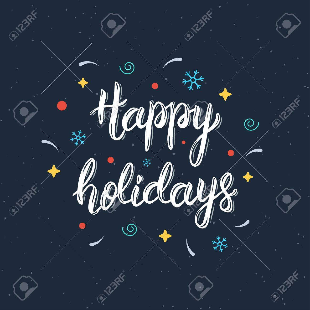 Happy Holidays Hand Written Brush Lettering Inscription With
