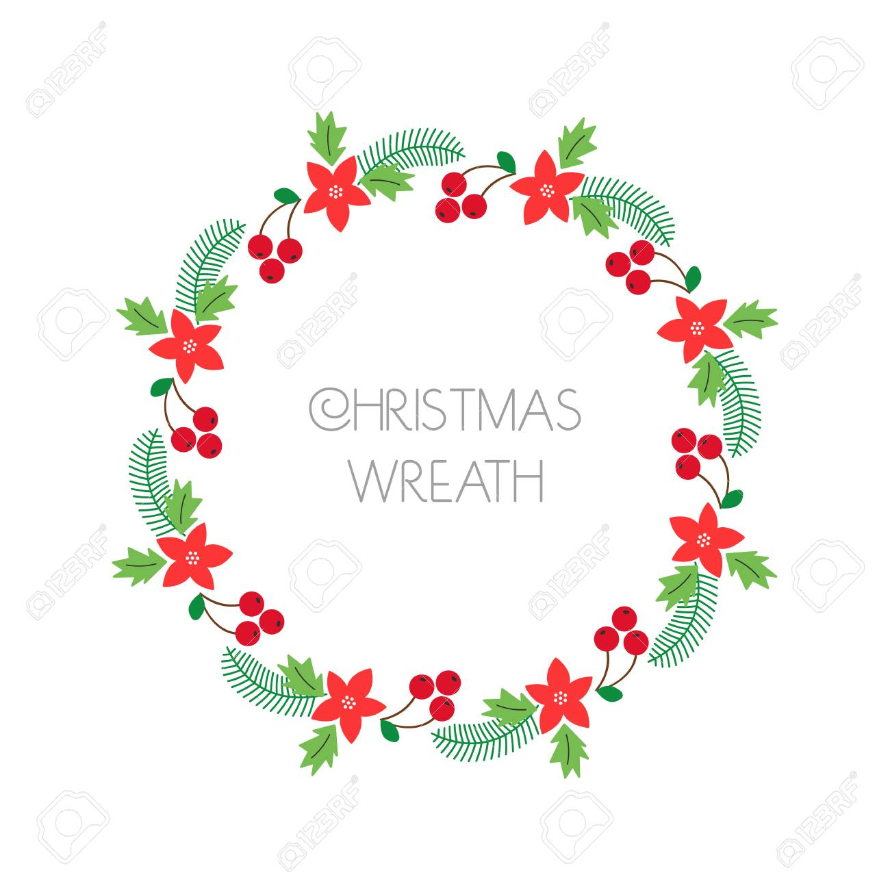 Christmas Cards To Print.Christmas Wreath With Rowanberry Fir Branches Poinsettia Round