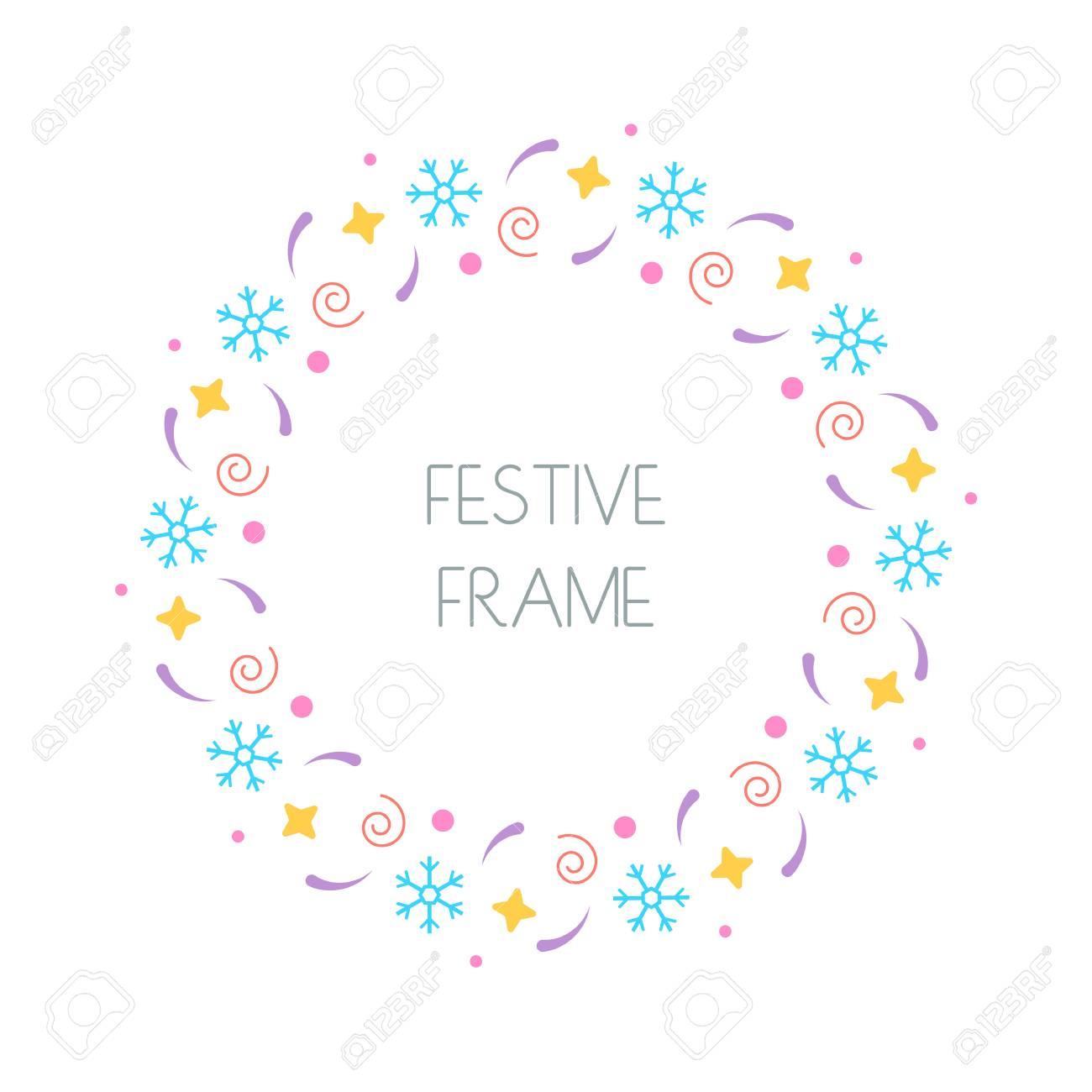 Christmas Cards To Print.Christmas Festive Round Frame For Christmas Cards Invitations