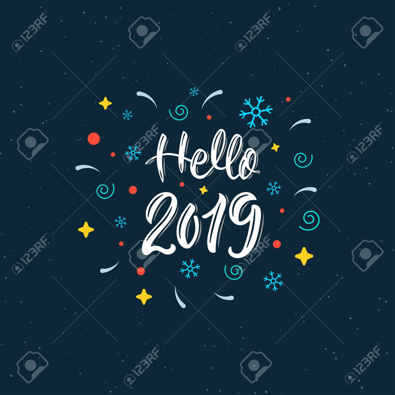 Hello 2019 Trendy hand lettering quote with decorative elements, fashion graphics, art print for posters and greeting cards design. Calligraphic quote in white ink. Vector illustration - 110505236