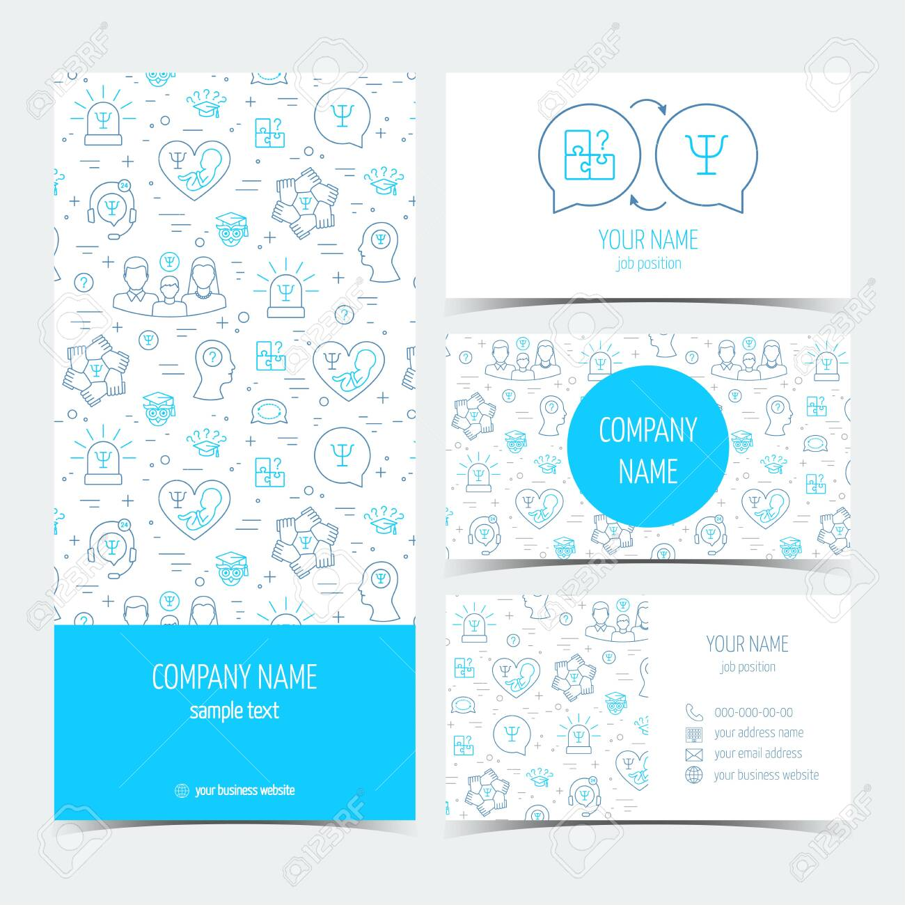 Set Of Flyer Brochure And Business Cards For Psychology Center Royalty Free Cliparts Vectors And Stock Illustration Image 124558953