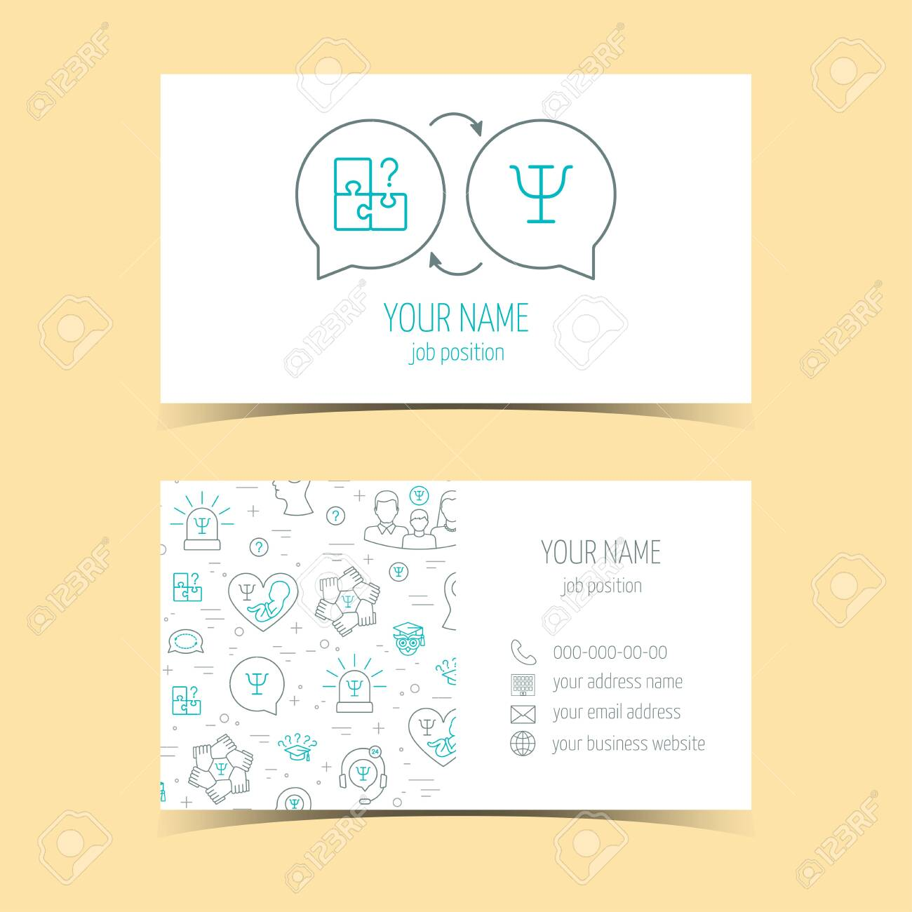 Business Cards For Psychology Help Promotional Products Line Royalty Free Cliparts Vectors And Stock Illustration Image 124558955