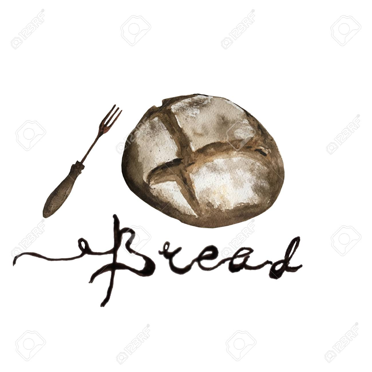 Bread Bakery Product Watercolor Drawing Set Fresh Loaf Of Bread Stock Photo Picture And Royalty Free Image Image 127487558