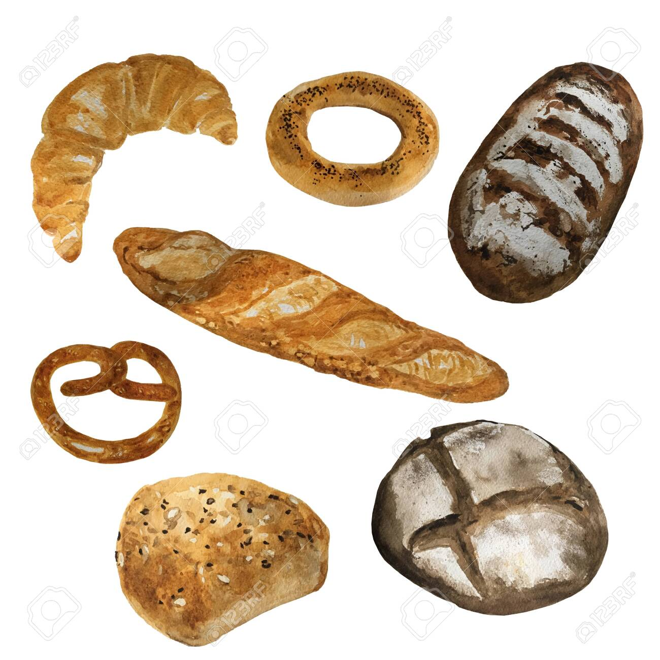 Bread Bakery Product Watercolor Drawing Set Fresh Loaf Of Bread Stock Photo Picture And Royalty Free Image Image 122256948