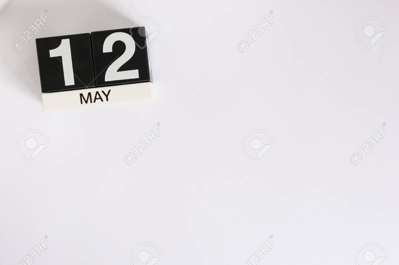 may 12th image of may 12 wooden color calendar on white background