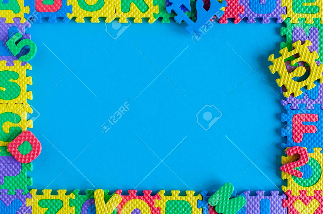 Image Of Simple Poster Frame Child Toy Puzzle Mockup And Template Scene With Blue