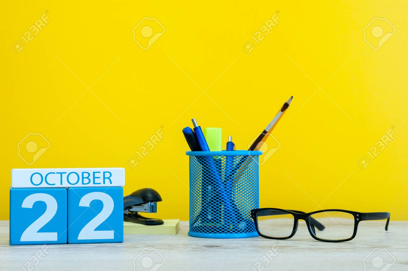october 22nd day 22 of october month wooden color calendar stock