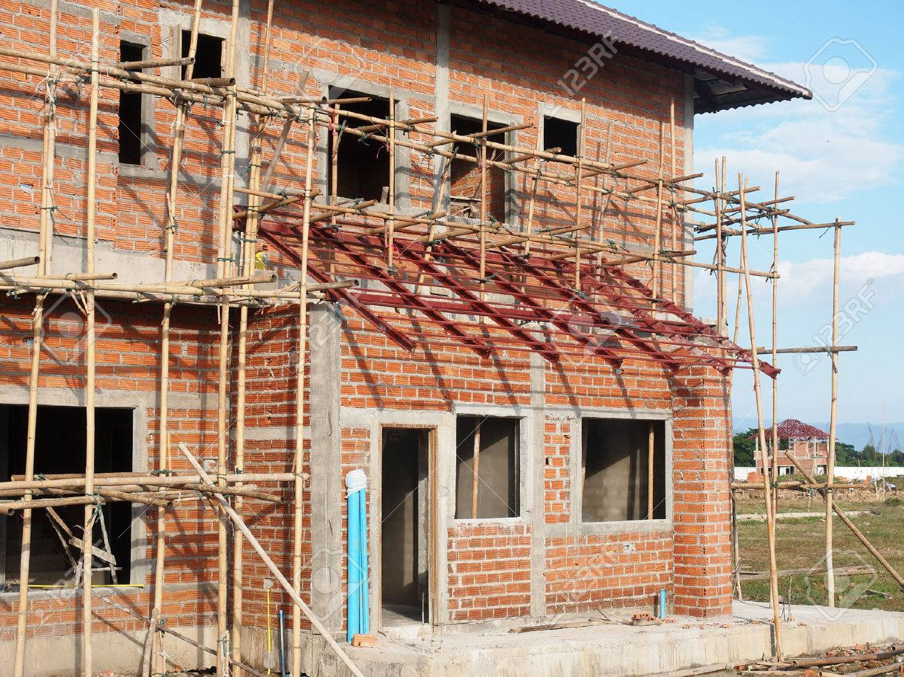 Under construction house building with bamboo frame support stock under construction house building with bamboo frame support stock photo 25863979 jeuxipadfo Image collections