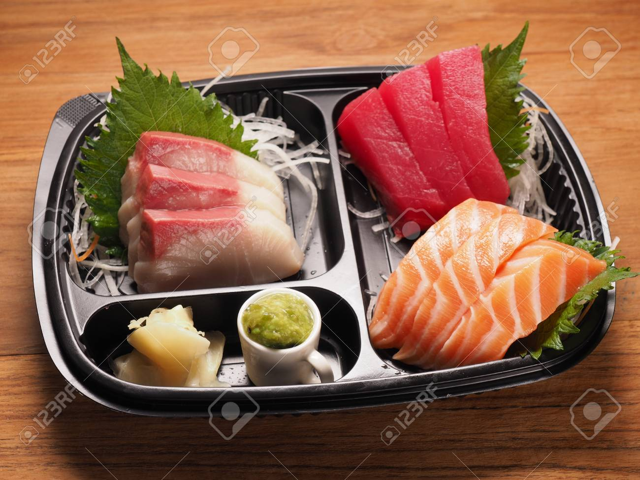 Salmon Tuna And Hamachi Sashimi Japanese Raw Food Stock Photo