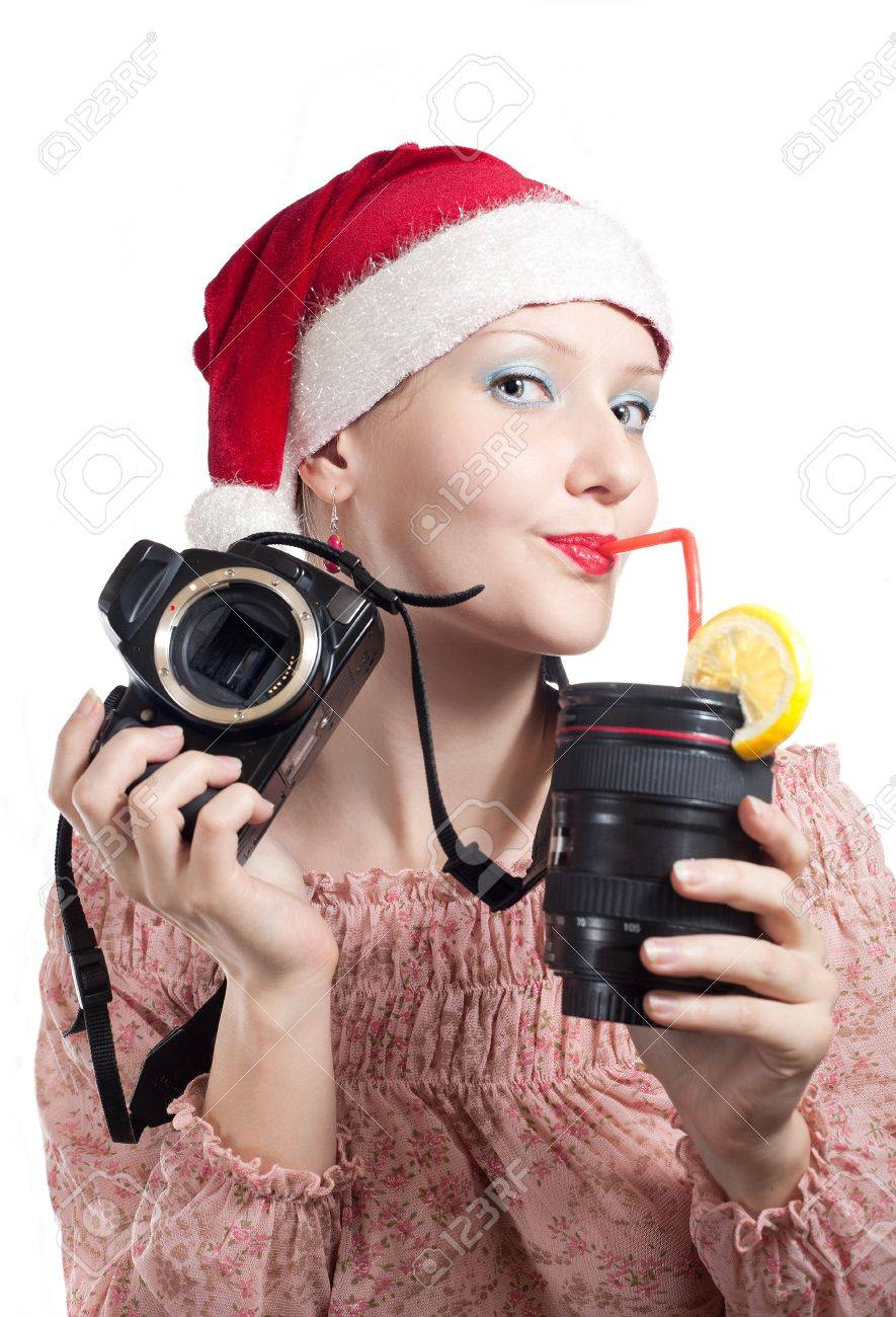 Camera Dslr Camera Without Lens beautiful girl drinking from lens cup holding dslr camera without in christmas hat isolated on