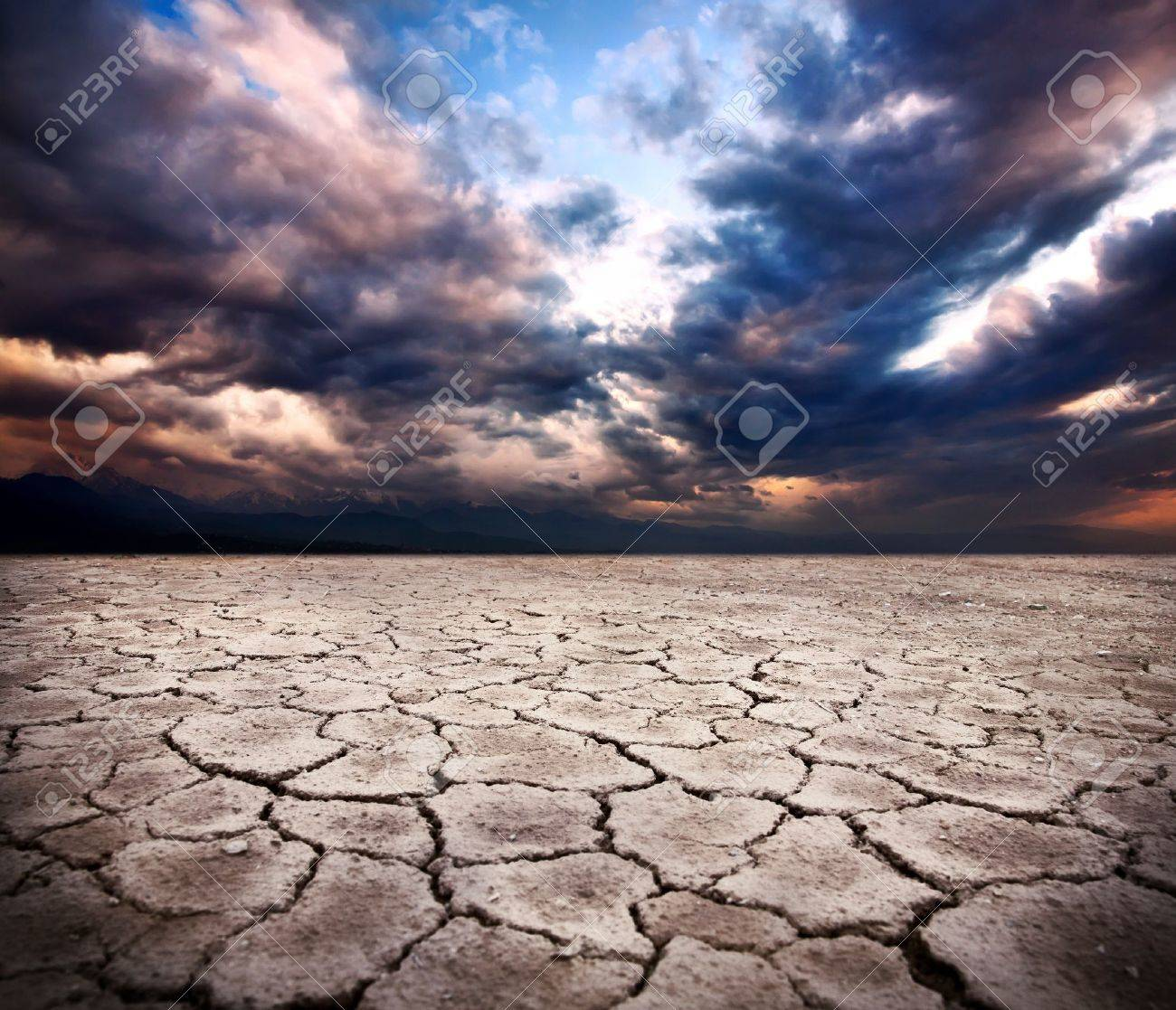 drought earth and storm dramatic sky at background Stock Photo - 9726905