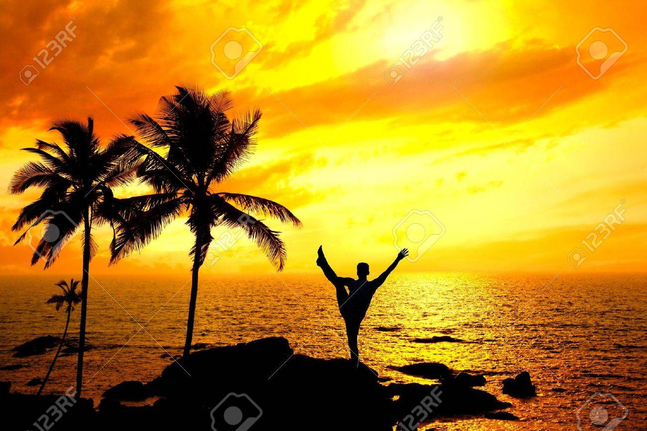 Yoga Natarajasana dancer balancing pose by Man in silhouette with palm tree nearby outdoors at ocean and sunset background. Vagator beach, Goa, India Stock Photo - 10826783