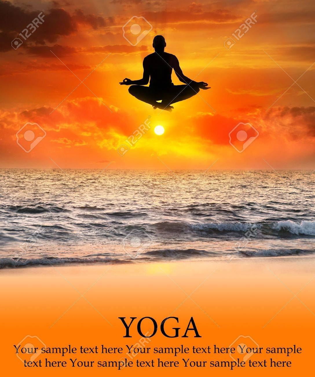 Padmasana lotus pose by  jumping Man silhouette at sunset and ocean background. Free space for your text. Represents concept of yoga Stock Photo - 10866905