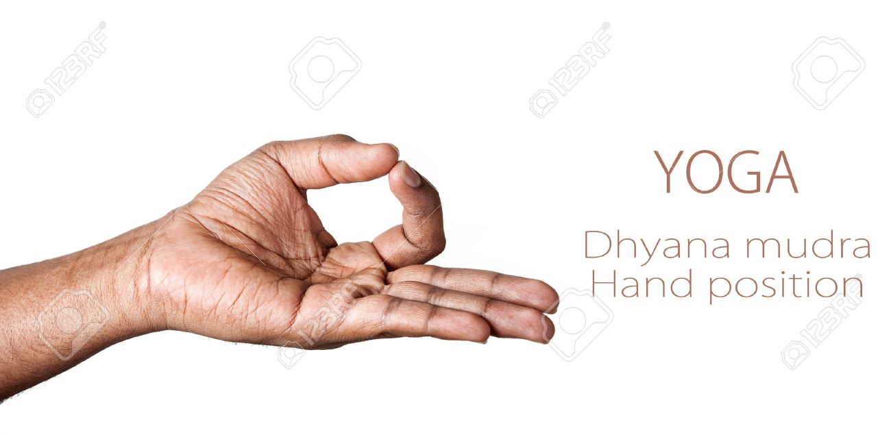 Hand in Dhyana mudra by Indian man isolated at white background. Free space for your text - 11270305