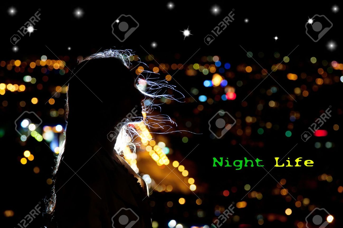 Woman portrait in silhouette with hair waving in the breeze at night city background. Free space for your text Stock Photo - 11763401