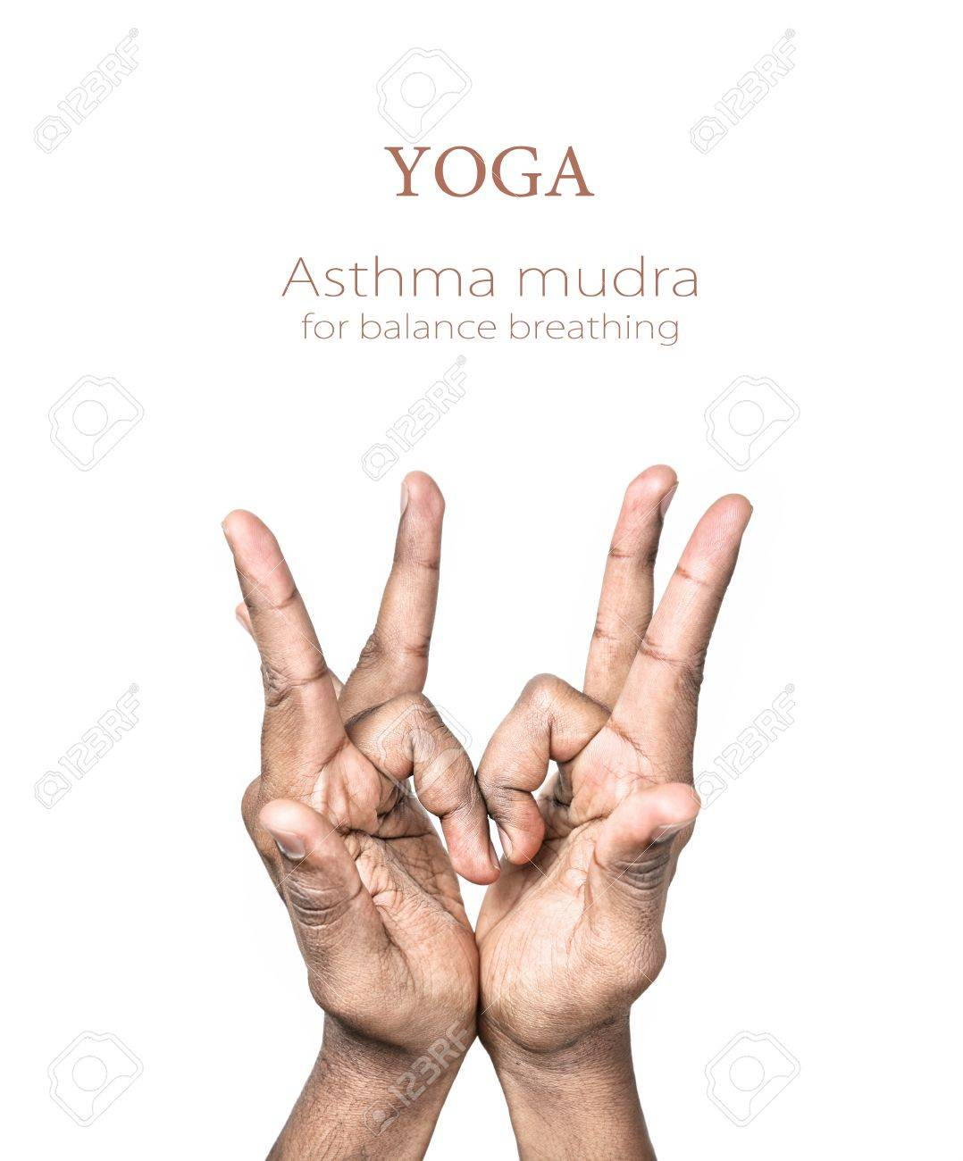Hands in asthma mudra by Indian man isolated at white background. Gesture for balance breathing. Free space for your text and can be used in articles about mudras Stock Photo - 11763433