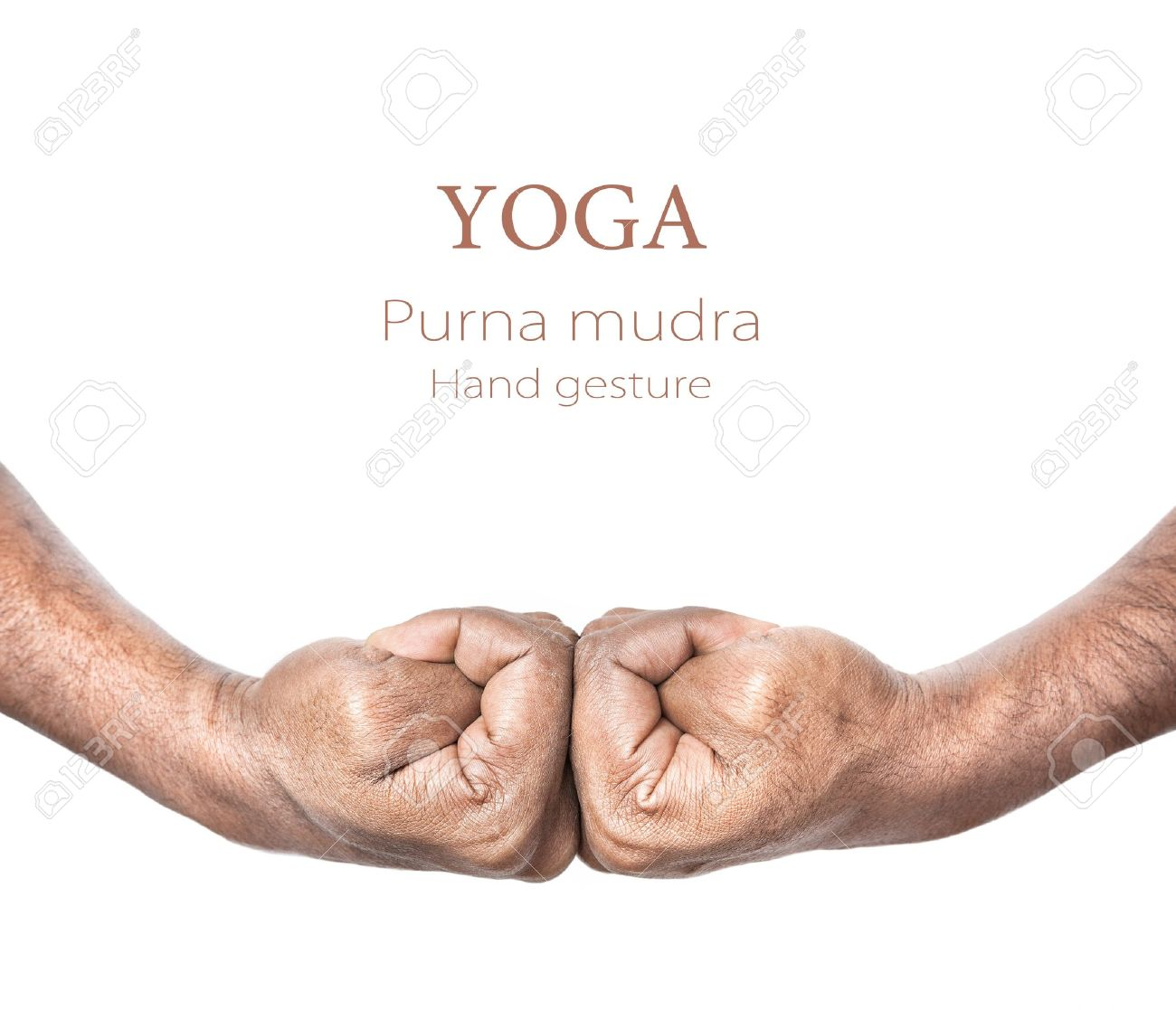 Hands in purna mudra by Indian man isolated at white background. Free space for your text and can be used in articles about mudras Stock Photo - 11858848