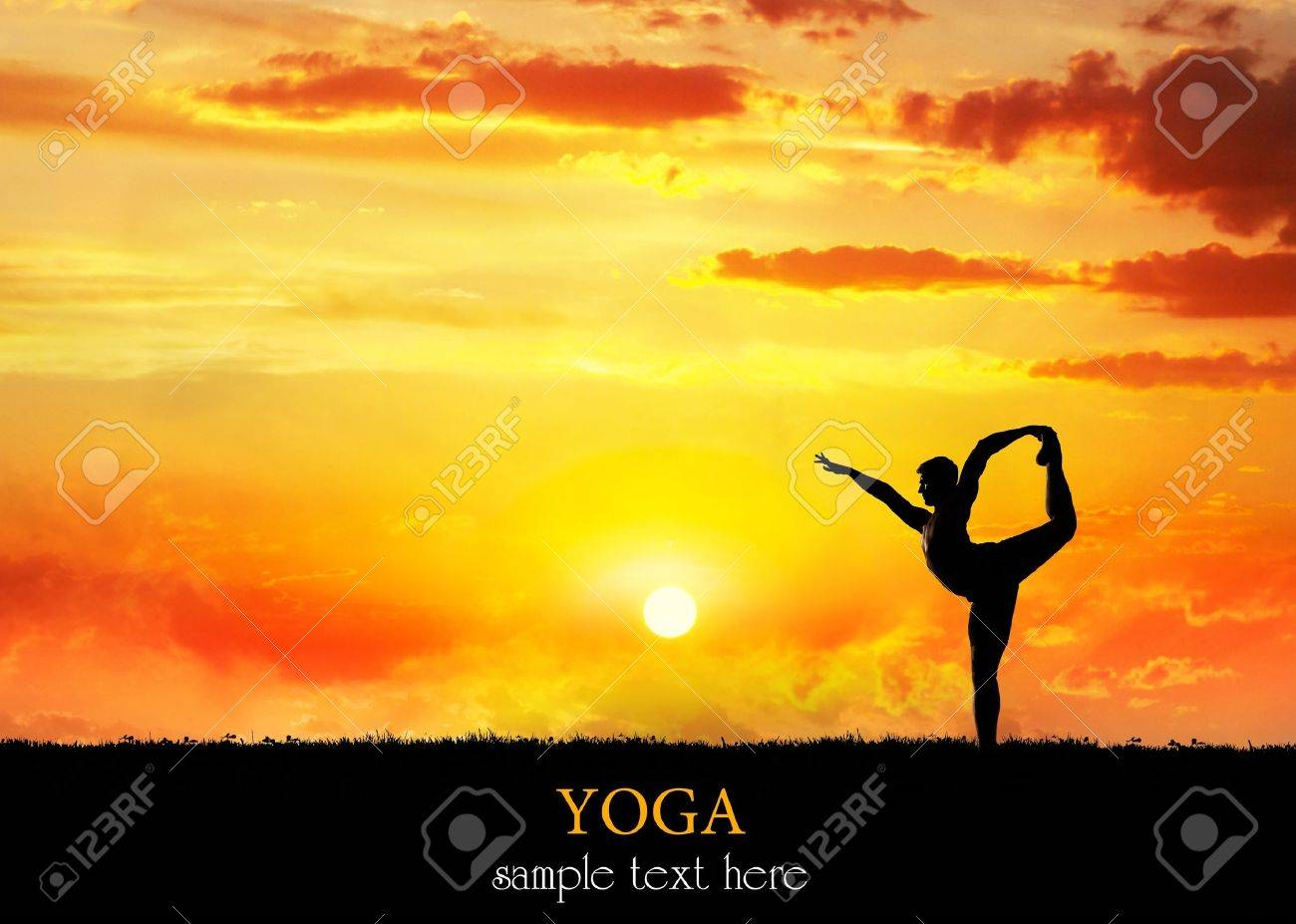 Yoga Natarajasana dancer balancing pose by Man in silhouette with dramatic sunset sky background. Free space for text Stock Photo - 12173985