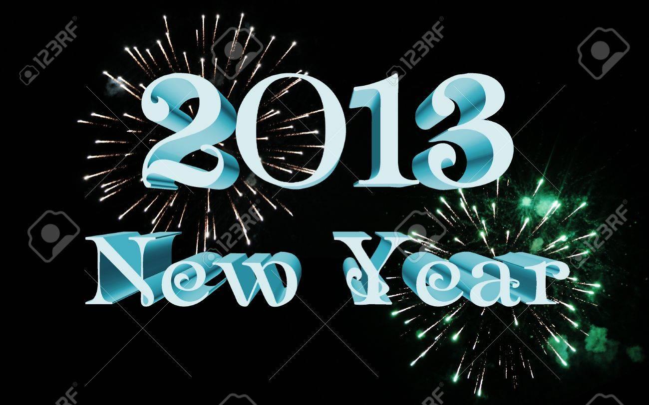 2013 new year celebration with fireworks Stock Photo - 13844813