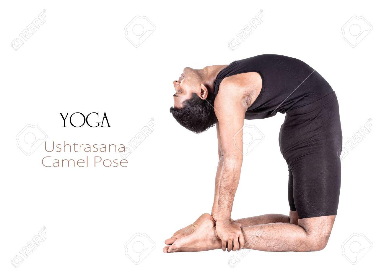 Yoga Ushtrasana Camello Plantean Por El Hombre Indio En Paño Negro ...