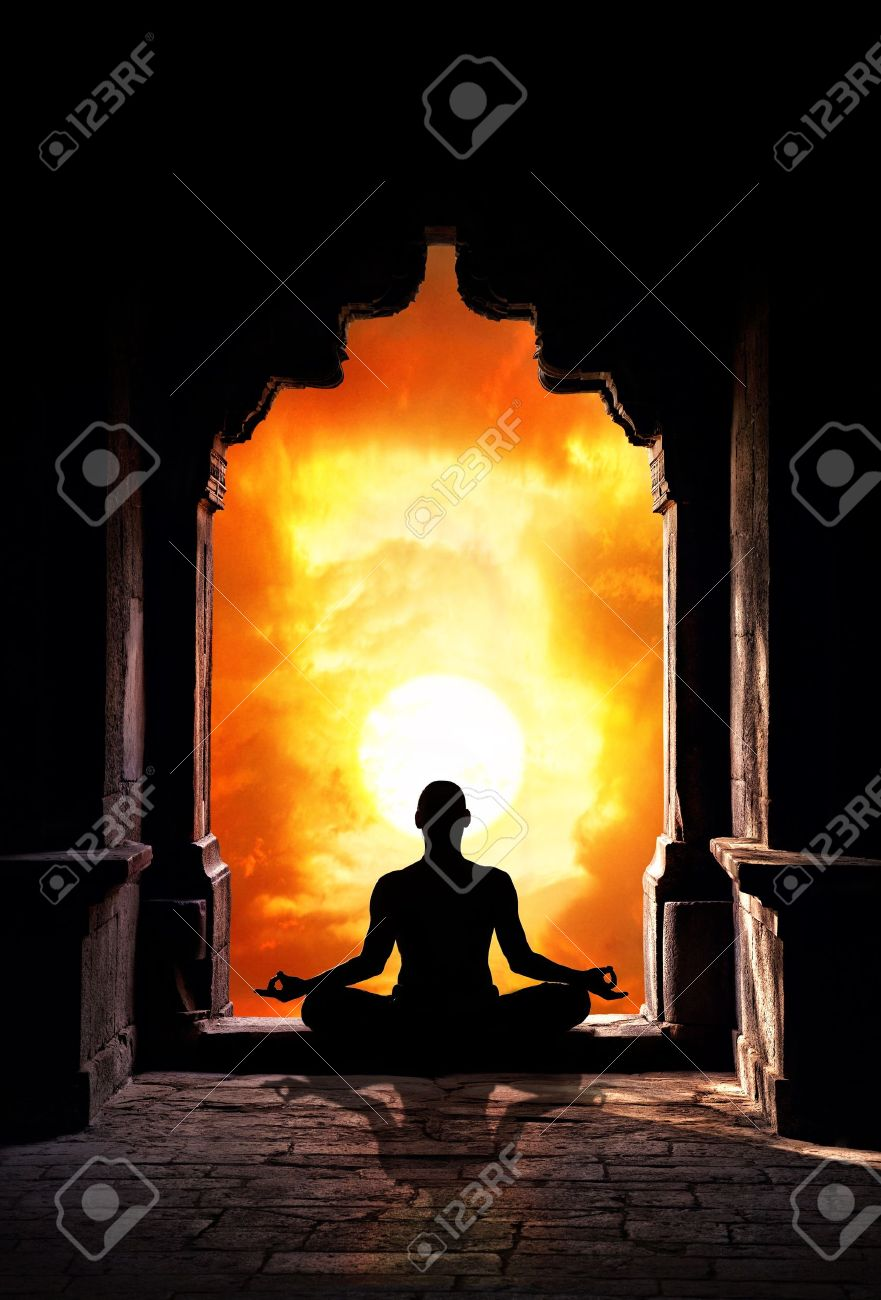 Yoga Meditation In Lotus Pose By Man Silhouette Old Temple
