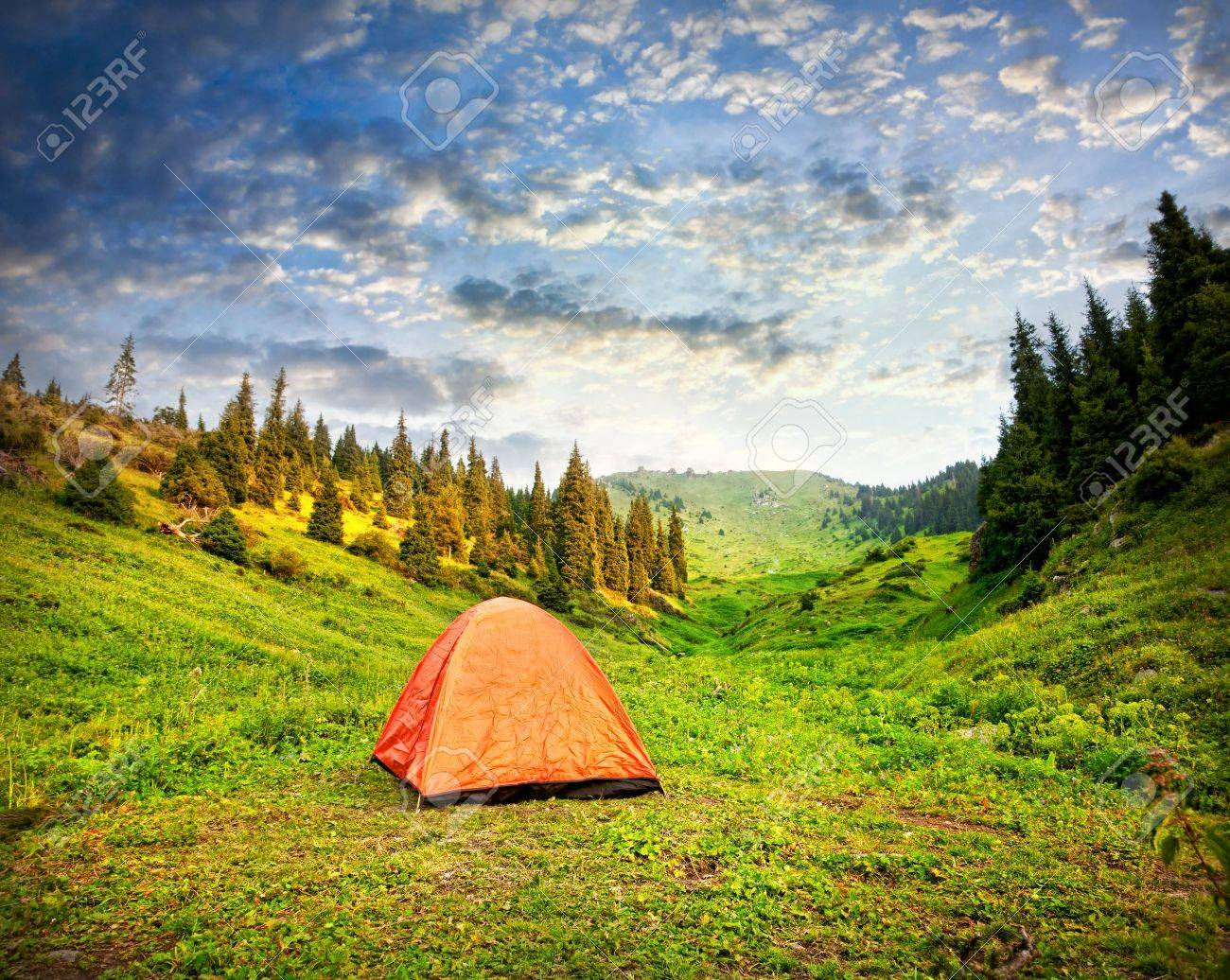 Tourist orange tent in mountains in Kazakhstan Stock Photo - 14508435 & Tourist Orange Tent In Mountains In Kazakhstan Stock Photo ...