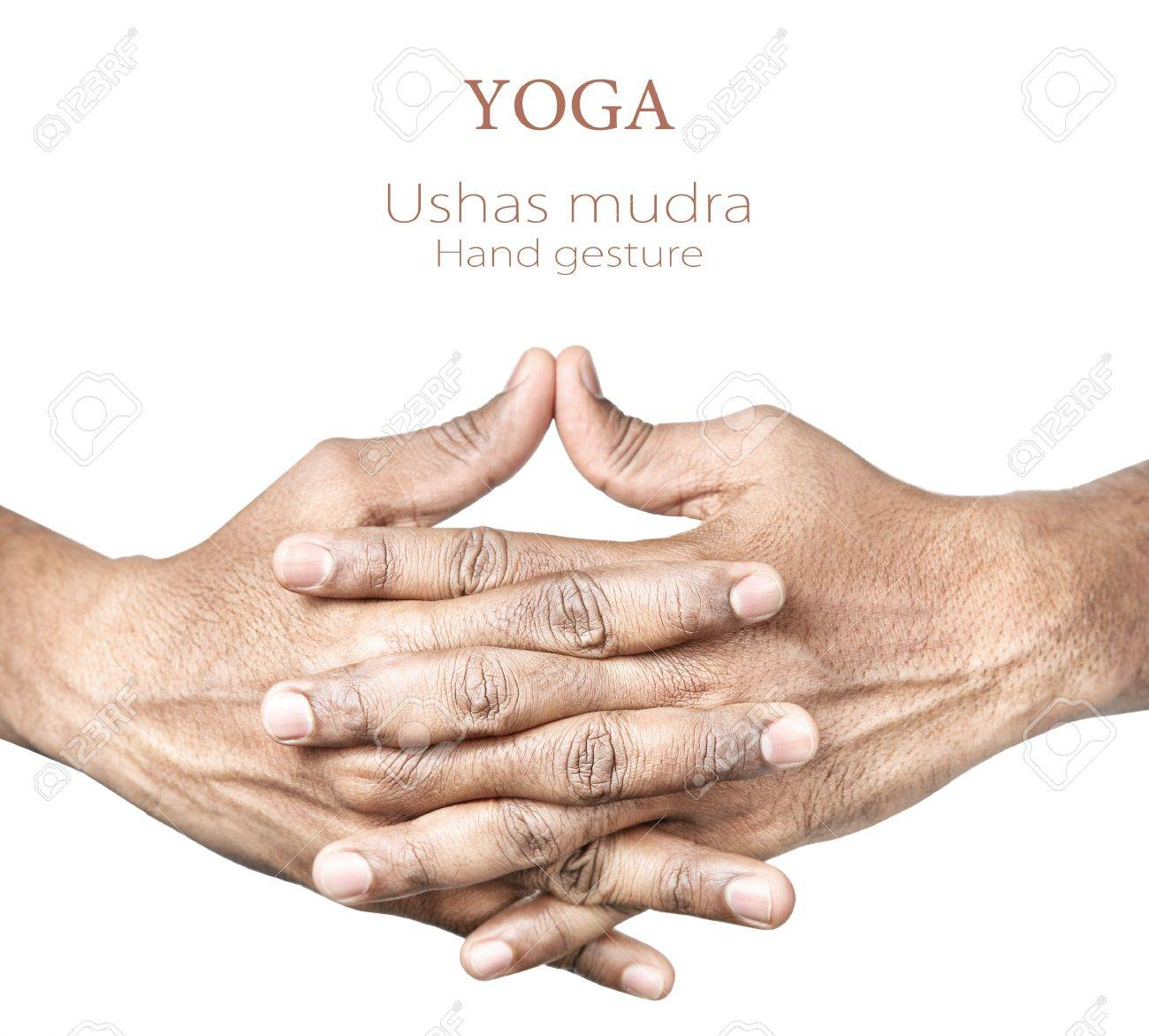 Hands in Ushas mudra by Indian man isolated at white background. Free space for your text Stock Photo - 16167480