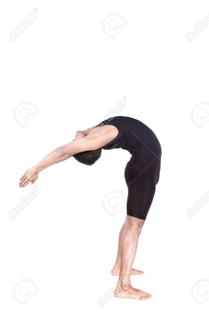 Yoga backward bending by Indian man in black costume mudra isolated at white background Stock Photo - 20047803