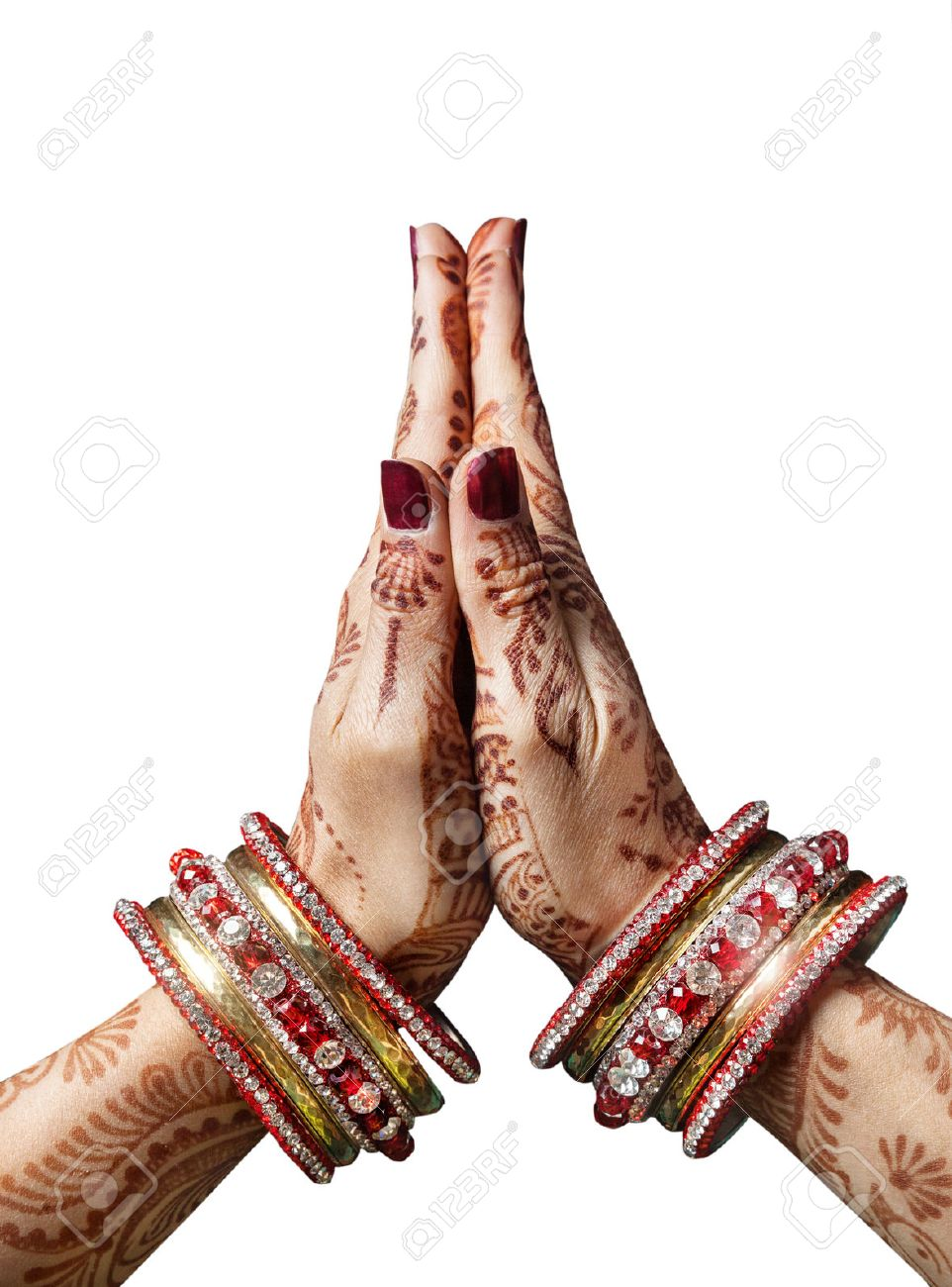 Mudra stock photos royalty free mudra images woman hands with henna in namaste mudra on white background stock photo izmirmasajfo