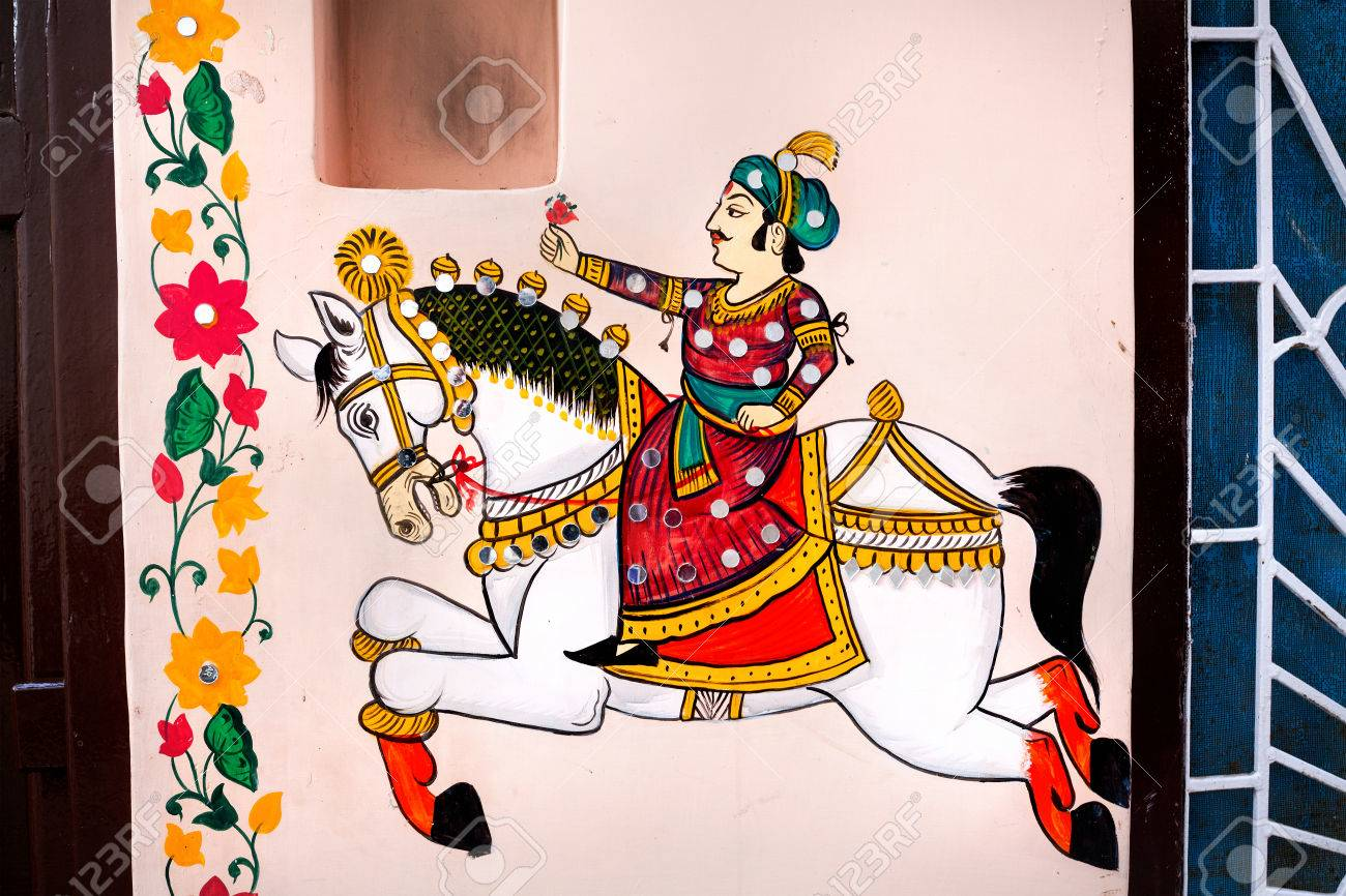 Traditional Rajasthan Painting On The House Wall Of King Riding Stock Photo Picture And Royalty Free Image Image 43049713