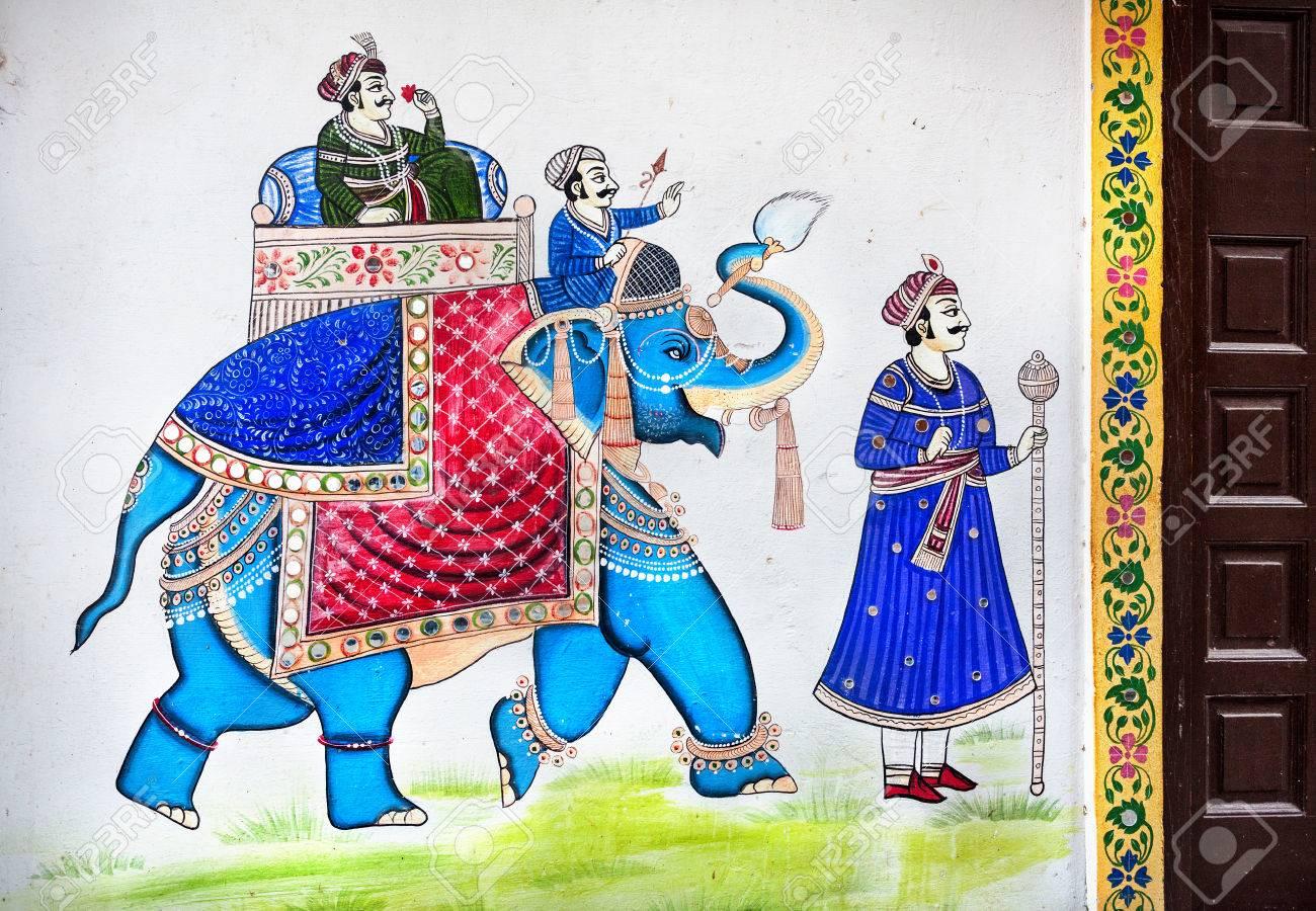 La Peinture Traditionnelle Du Rajasthan Sur Le Mur De La Maison Du Roi à Cheval Sur L éléphant Bleu à Udaipur Rajasthan Inde