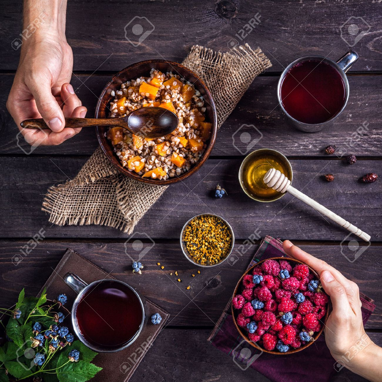 Healthy romantic breakfast with pumpkin porridge and berries at village summer house Stock Photo - 42855558